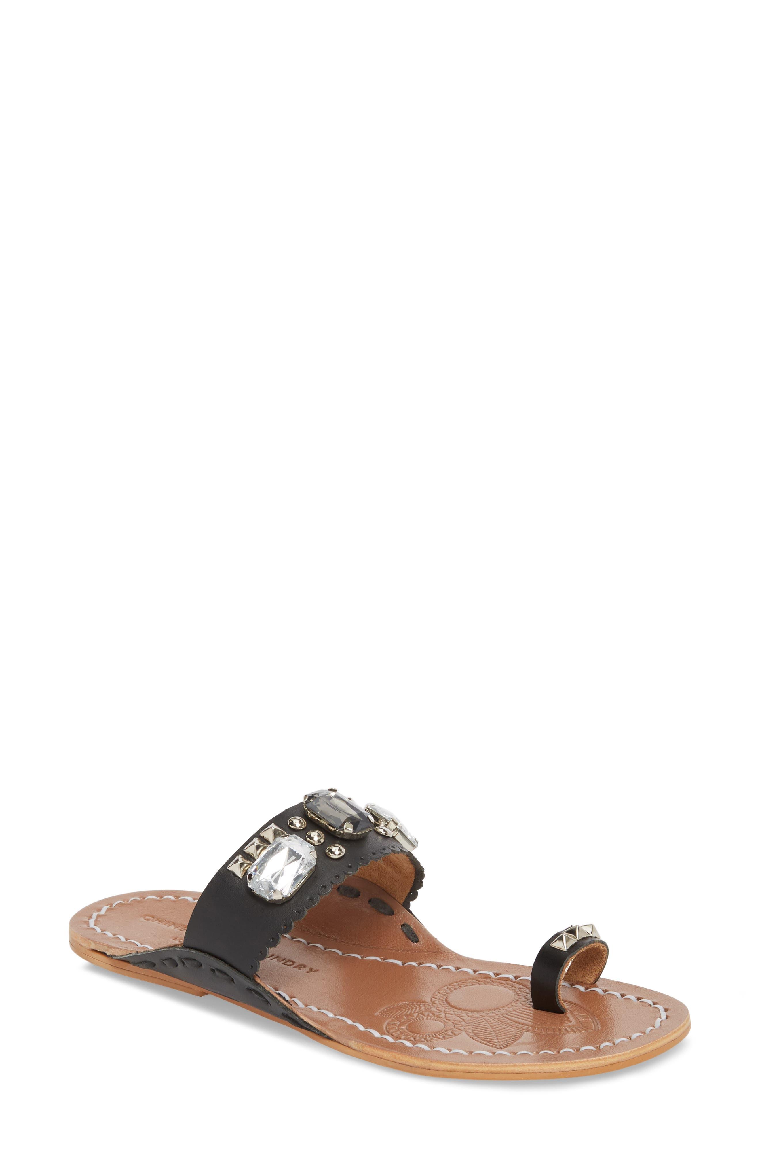 Jada Embellished Slide Sandal,                             Main thumbnail 1, color,                             001