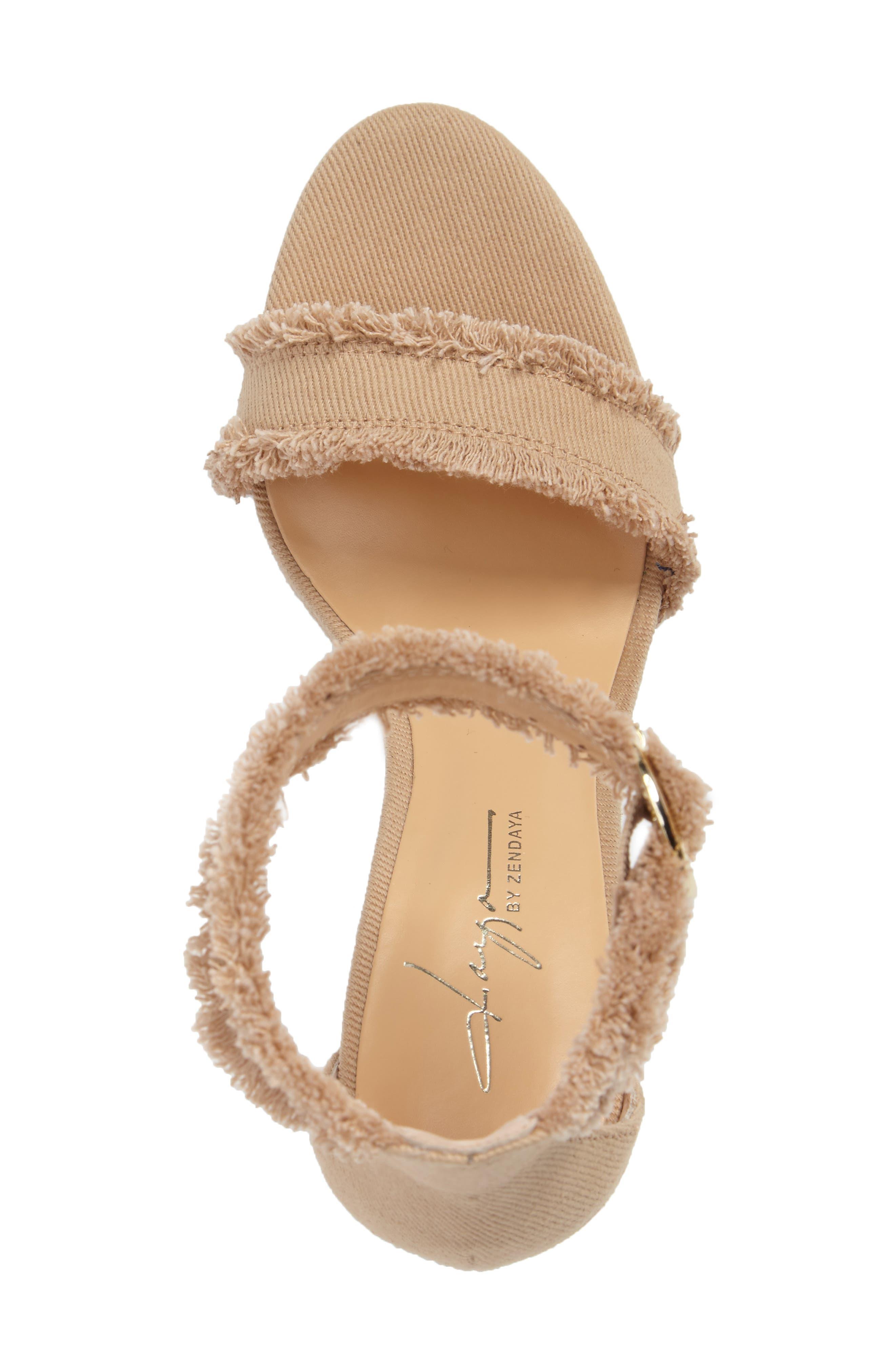 by Zendaya Shasta Fringe Denim Ankle Strap Sandal,                             Alternate thumbnail 8, color,