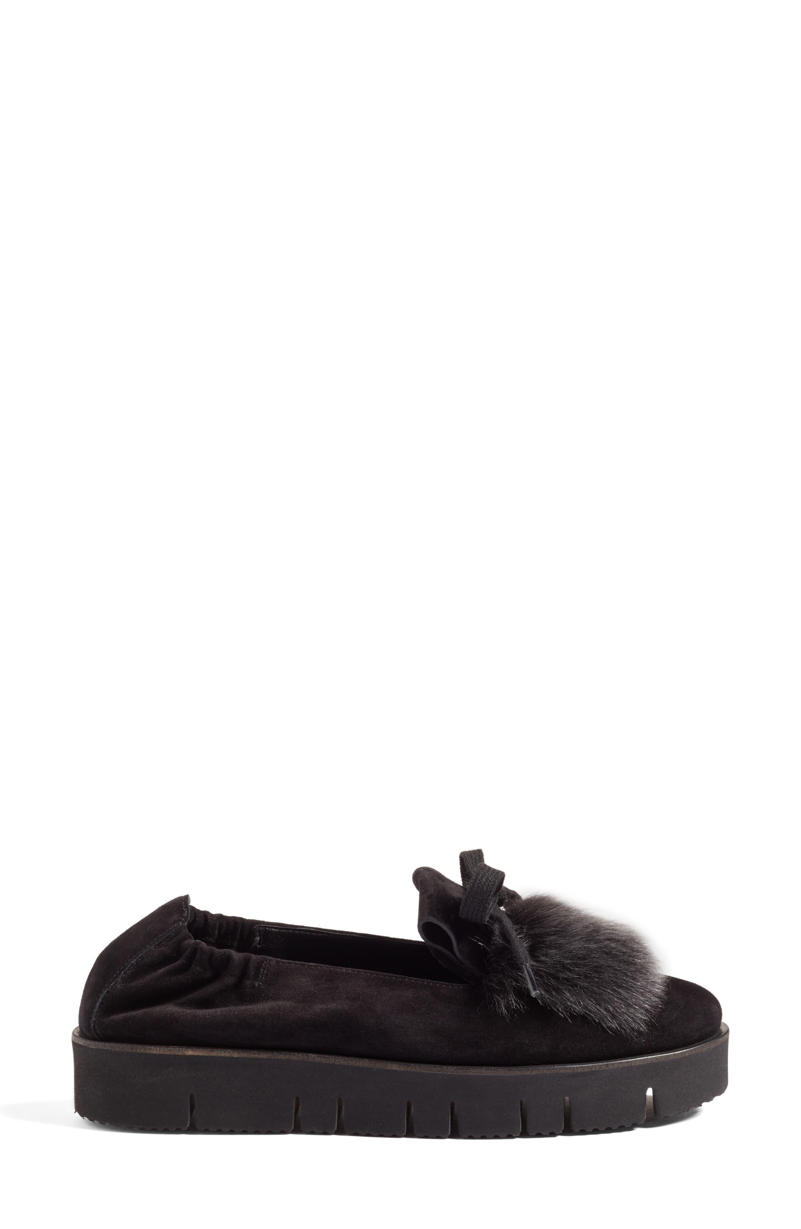 Kennel & Schmenger Malu Suede & Genuine Shearling Slip-On Sneaker,                             Alternate thumbnail 3, color,                             001