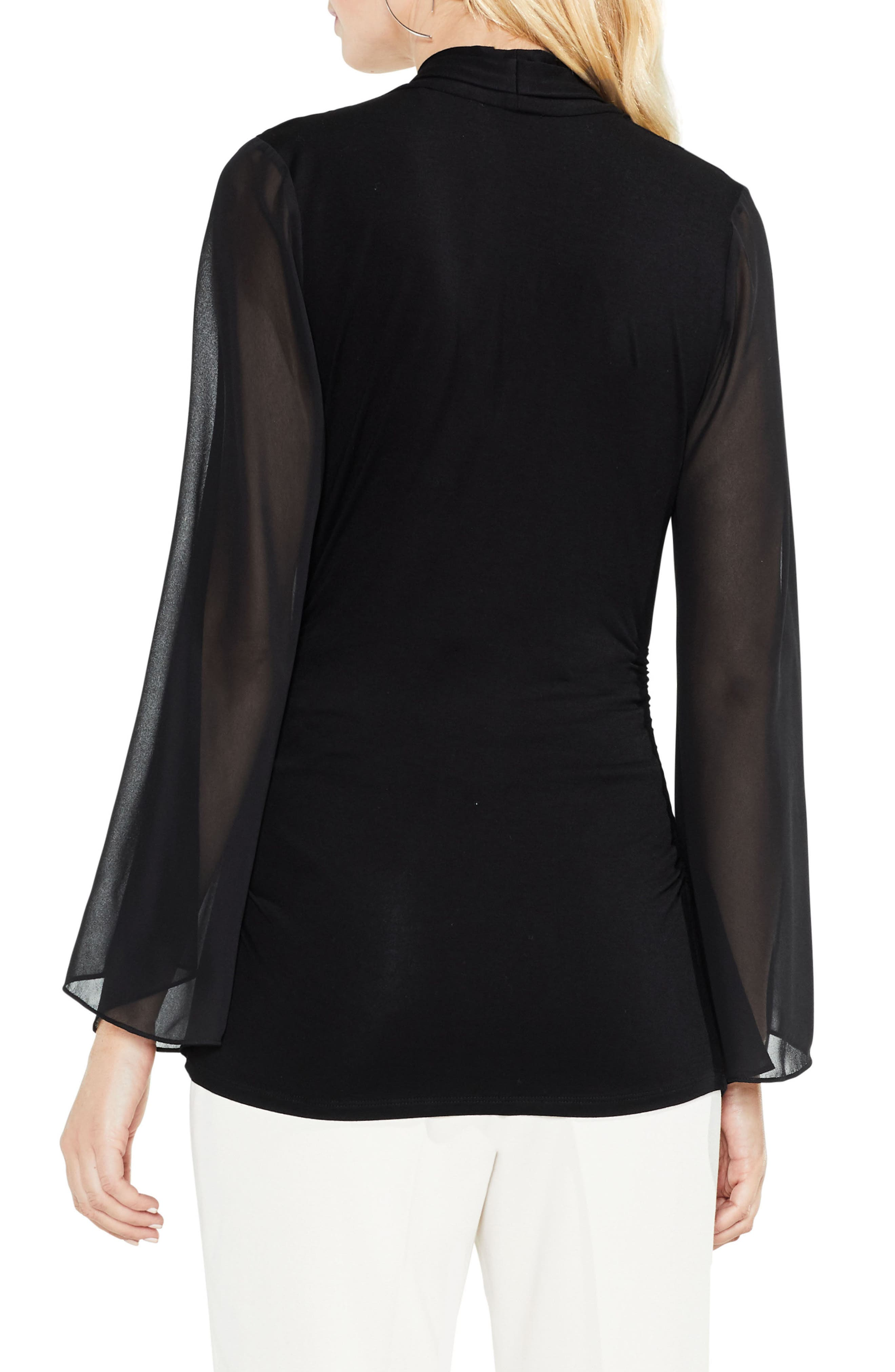 Bell Sleeve Side Ruched Chiffon Top,                             Alternate thumbnail 2, color,                             006