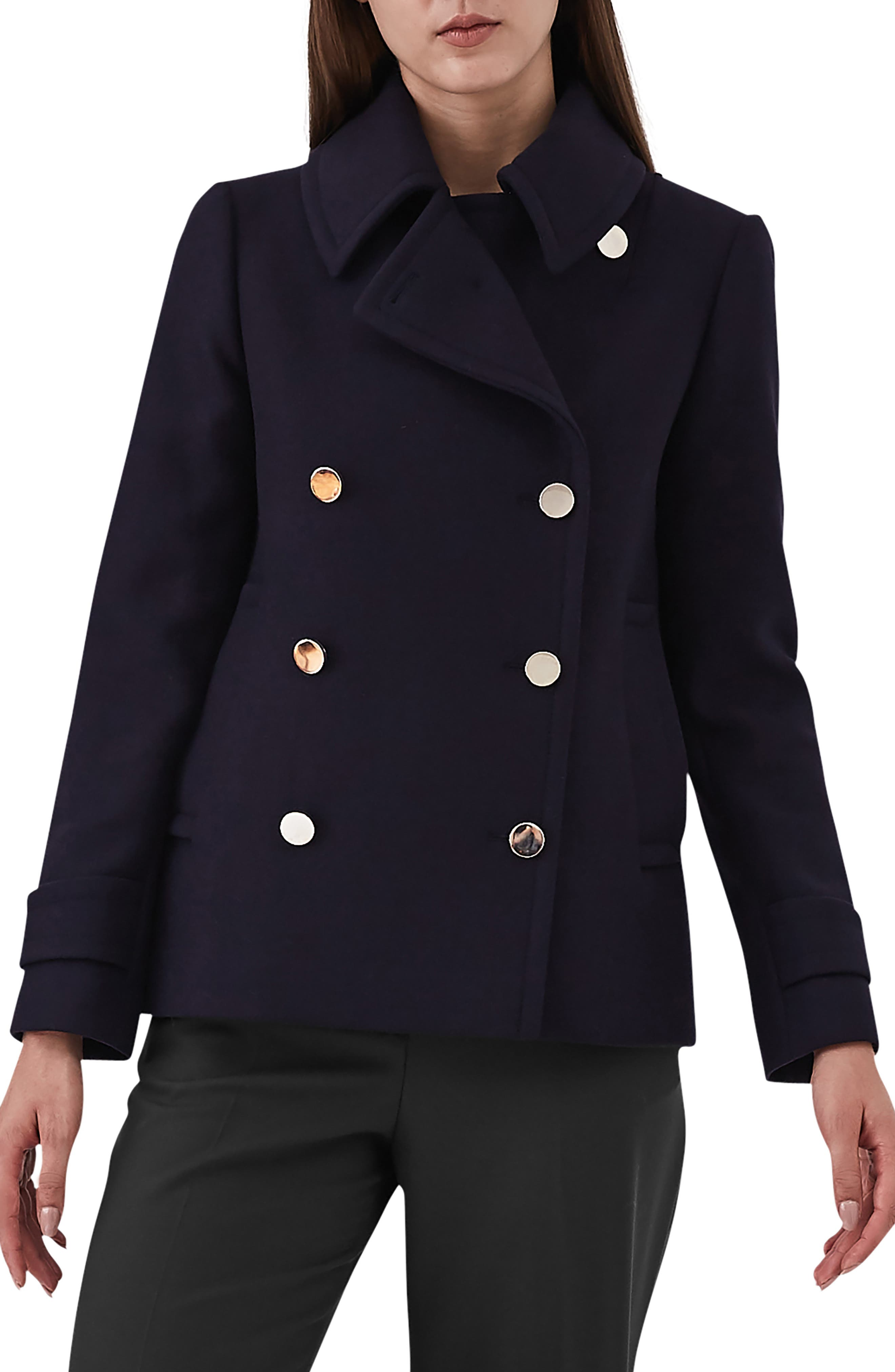 Becall Double Breasted Wool Blend Peacoat,                         Main,                         color, NAVY
