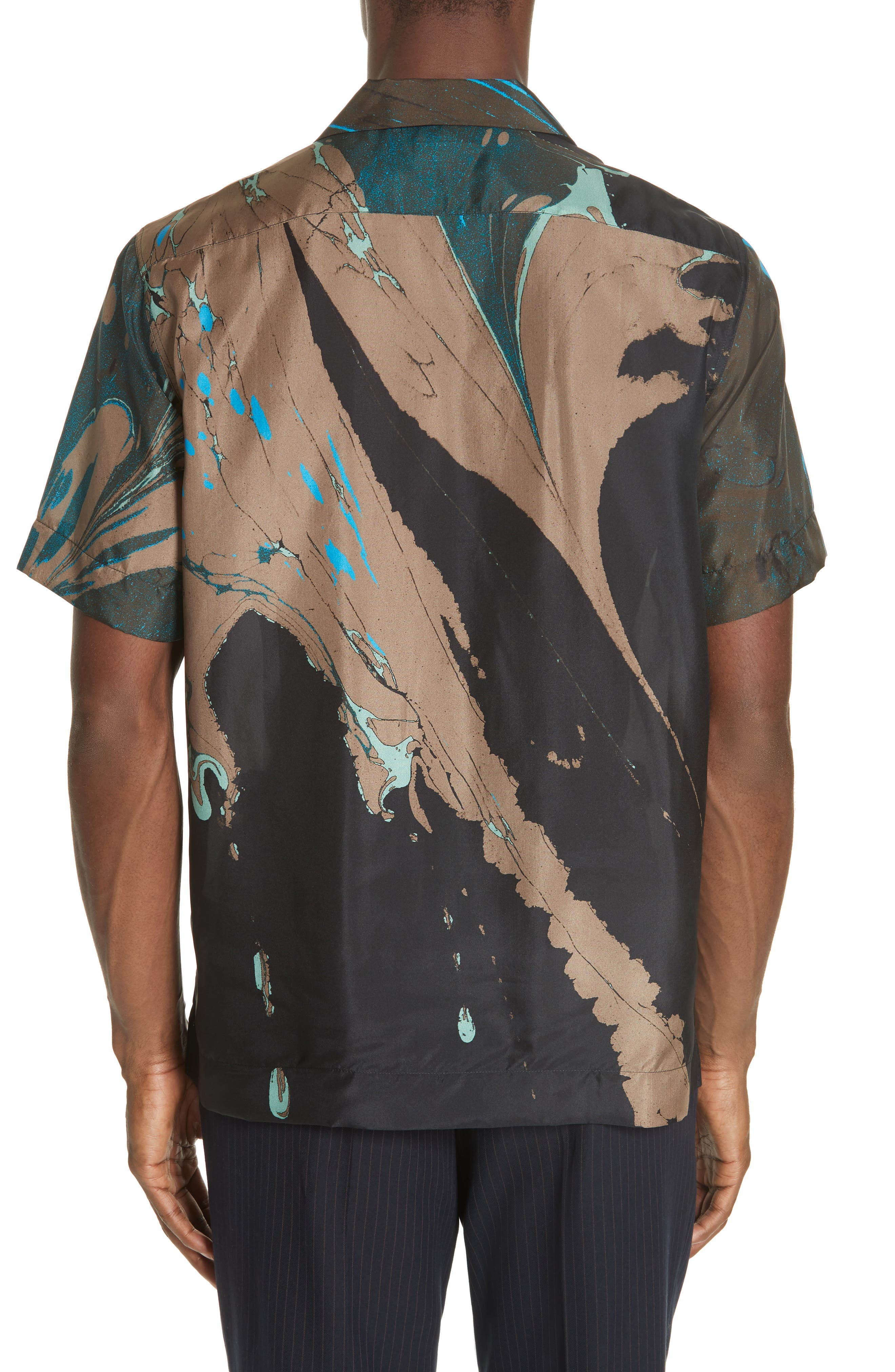 Carlton Print Silk Camp Shirt,                             Alternate thumbnail 2, color,                             BLACK