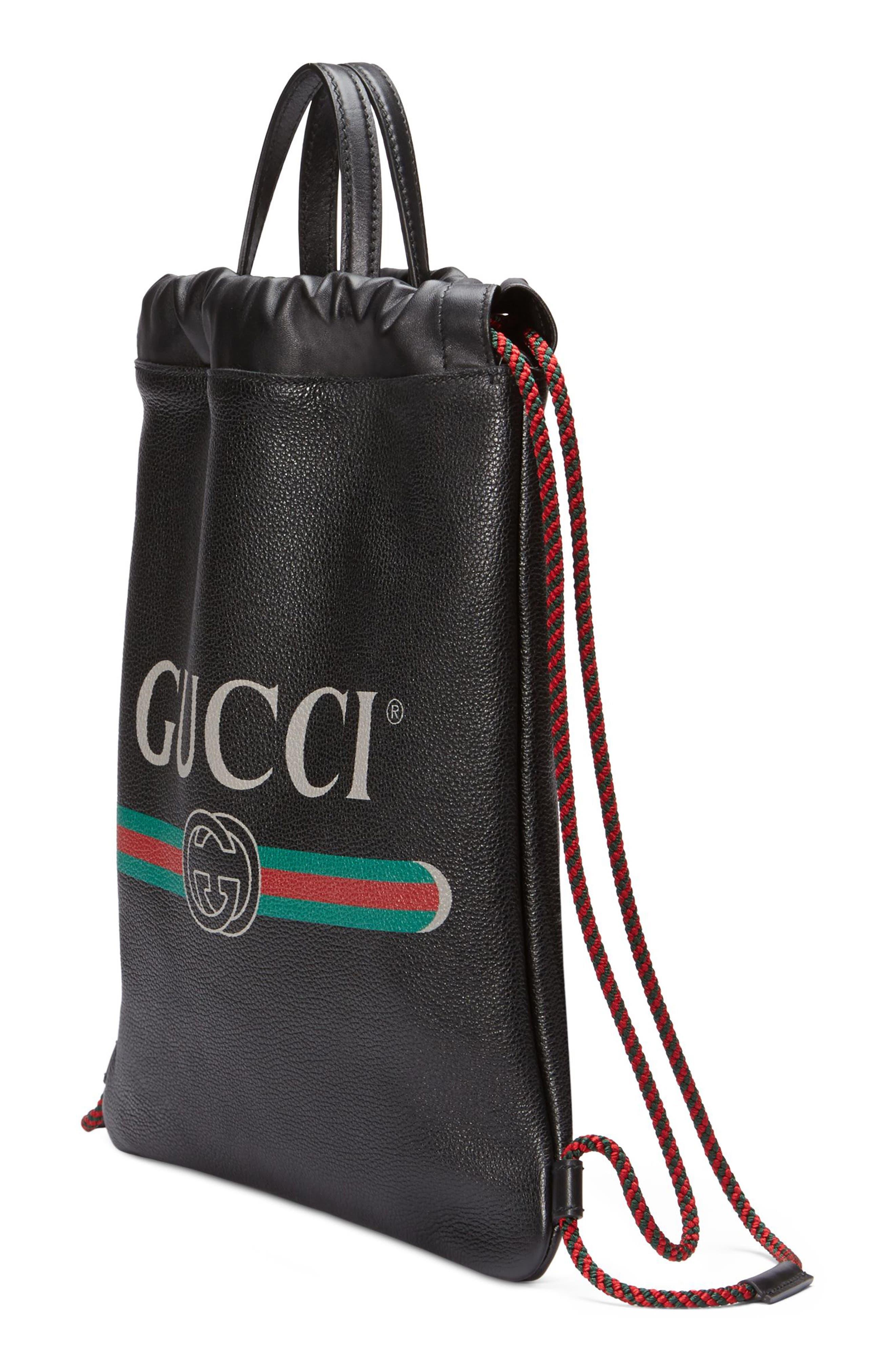 Small Logo Leather Drawstring Backpack,                             Alternate thumbnail 4, color,                             NERO/ VERT RED VERT