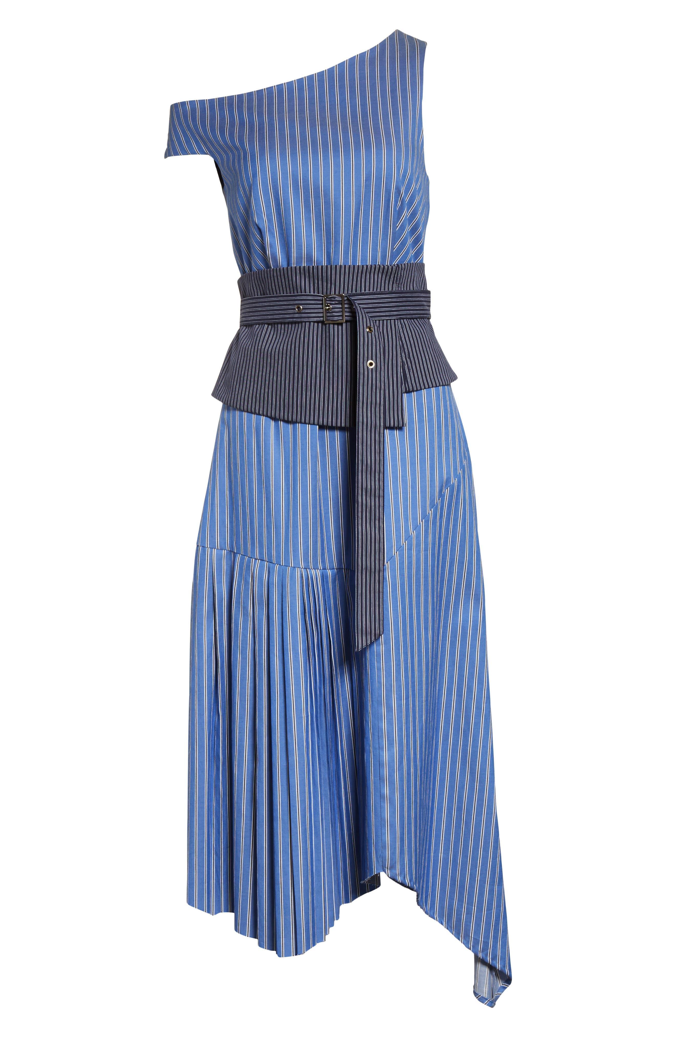 Belted Asymmetrical Midi Dress,                             Alternate thumbnail 7, color,                             402