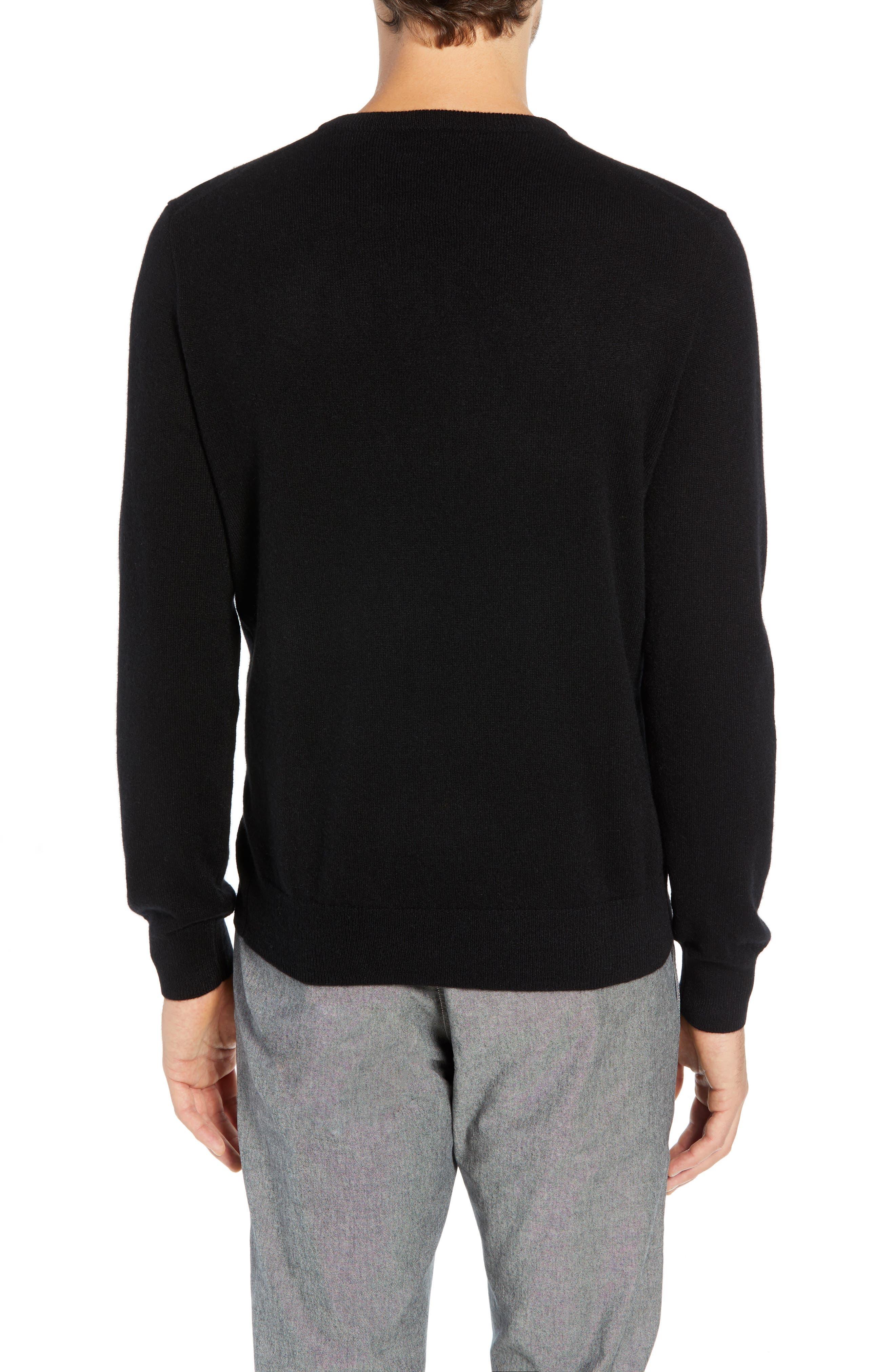 J.CREW,                             Everyday Cashmere Regular Fit V-Neck Sweater,                             Alternate thumbnail 2, color,                             001