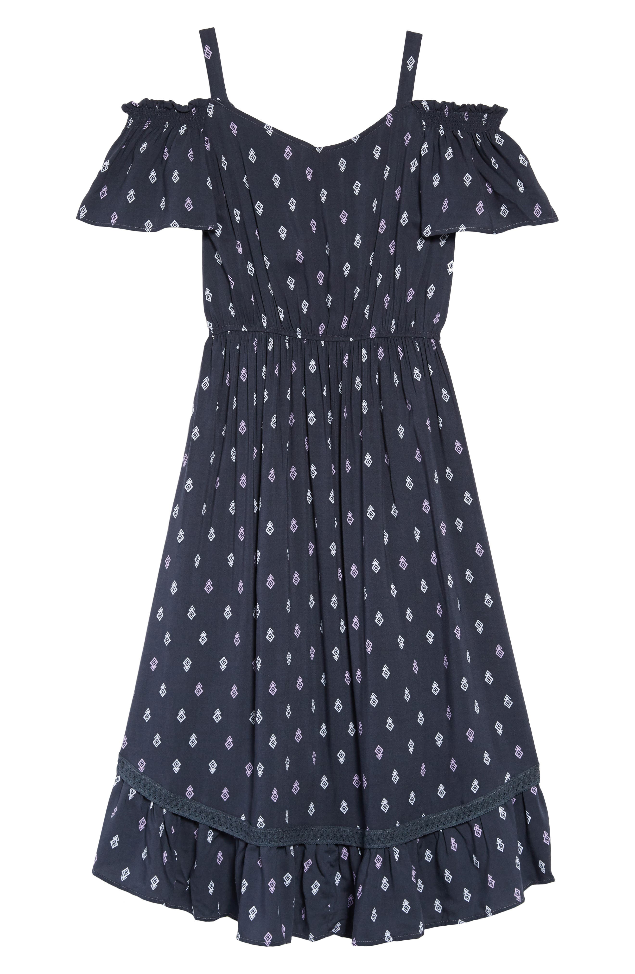 Geo Print Cold Shoulder Dress,                             Alternate thumbnail 2, color,                             414