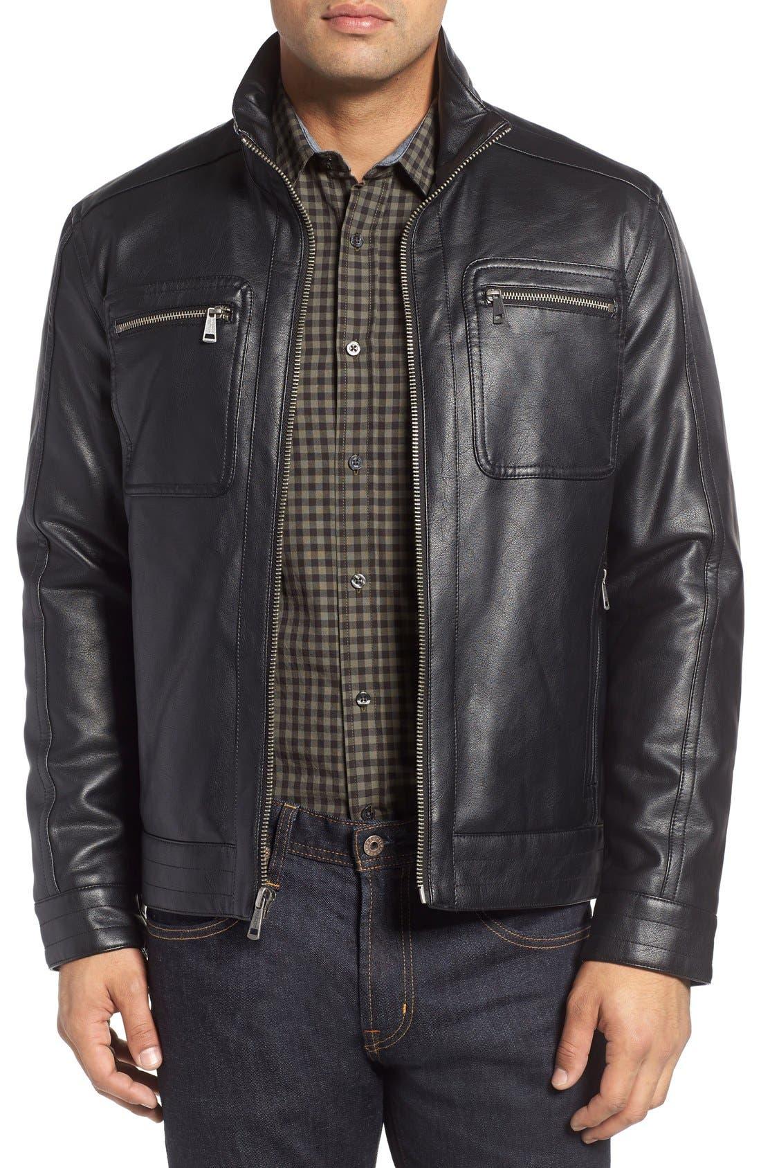 Faux Leather Zip Jacket,                         Main,                         color, BLACK
