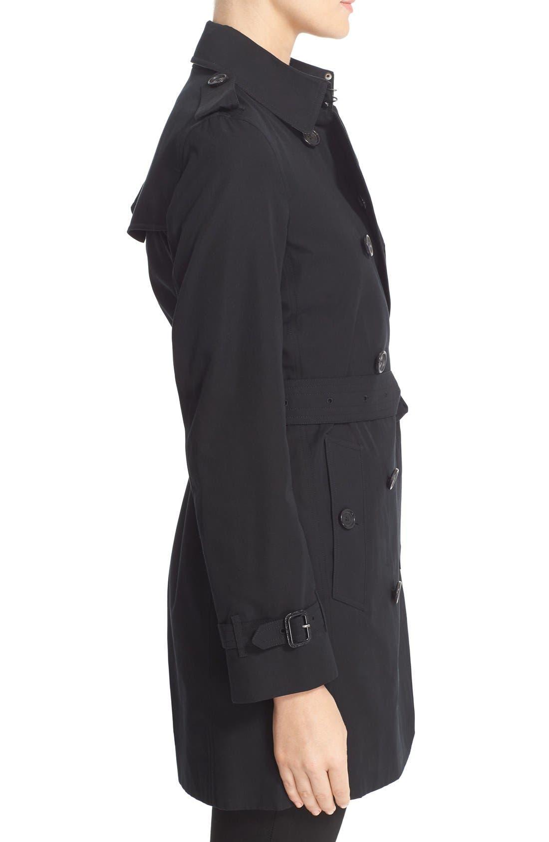 Kensington Mid Trench Coat,                             Alternate thumbnail 5, color,                             BLACK
