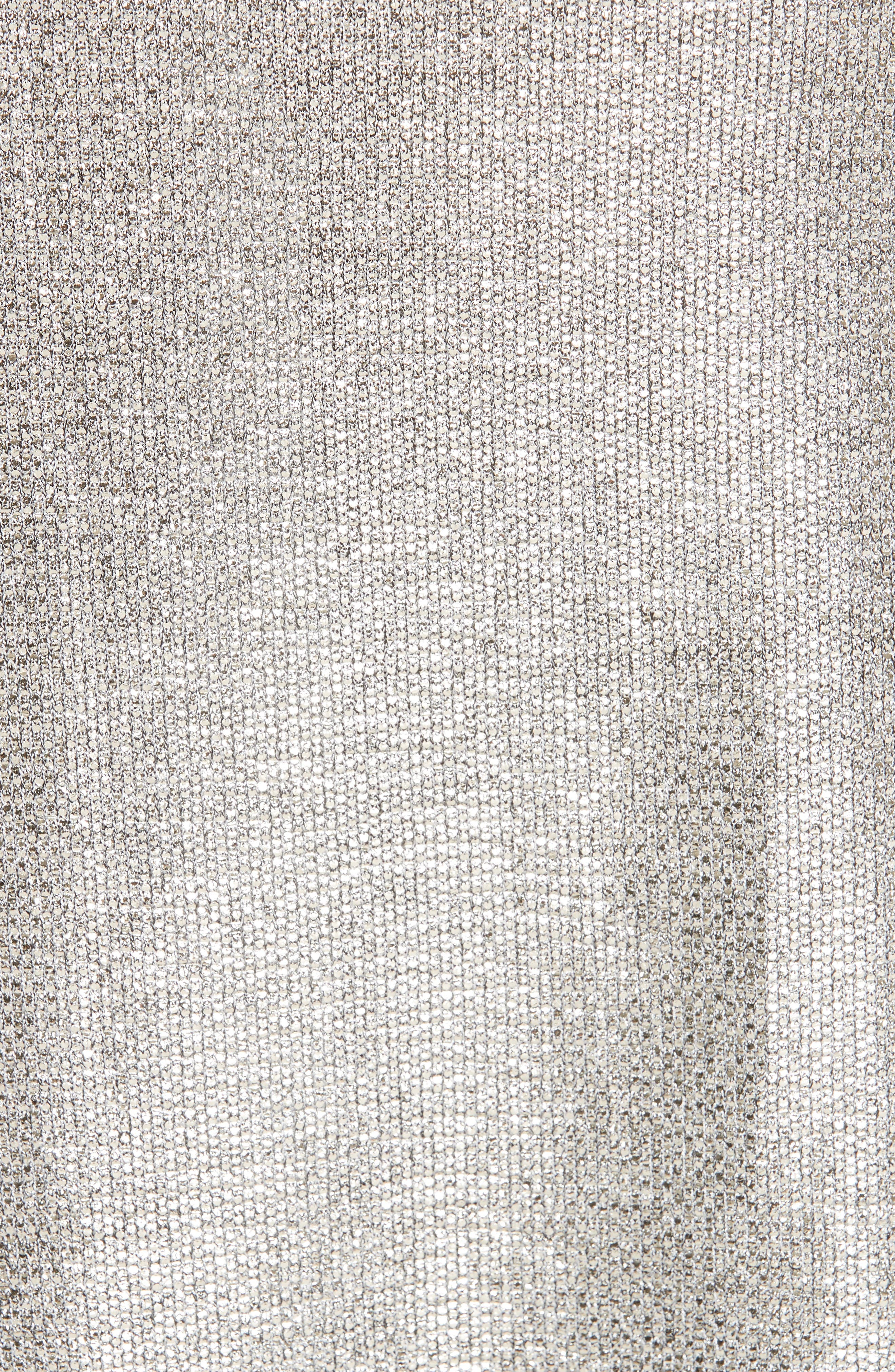 Twist Detail Metallic Dress,                             Alternate thumbnail 6, color,                             PLATINUM