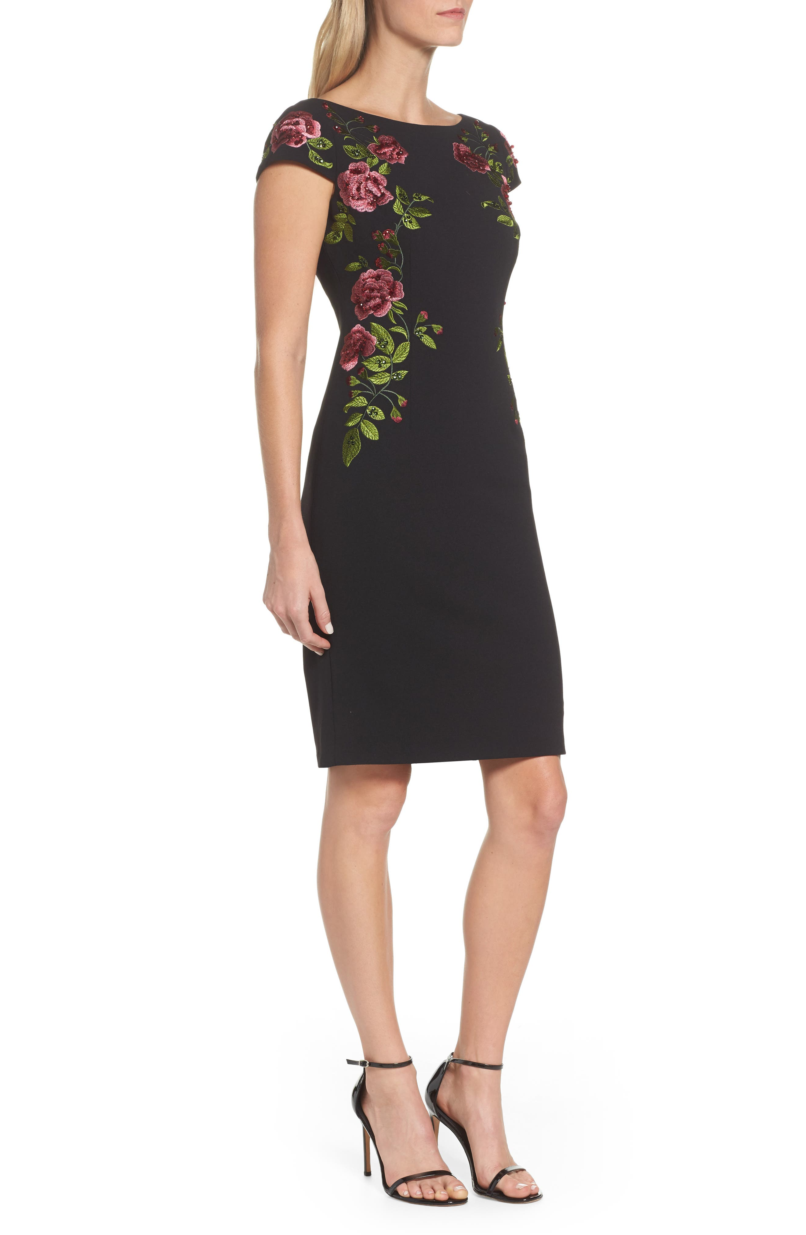 Embroidered Crepe Sheath Dress,                             Alternate thumbnail 3, color,