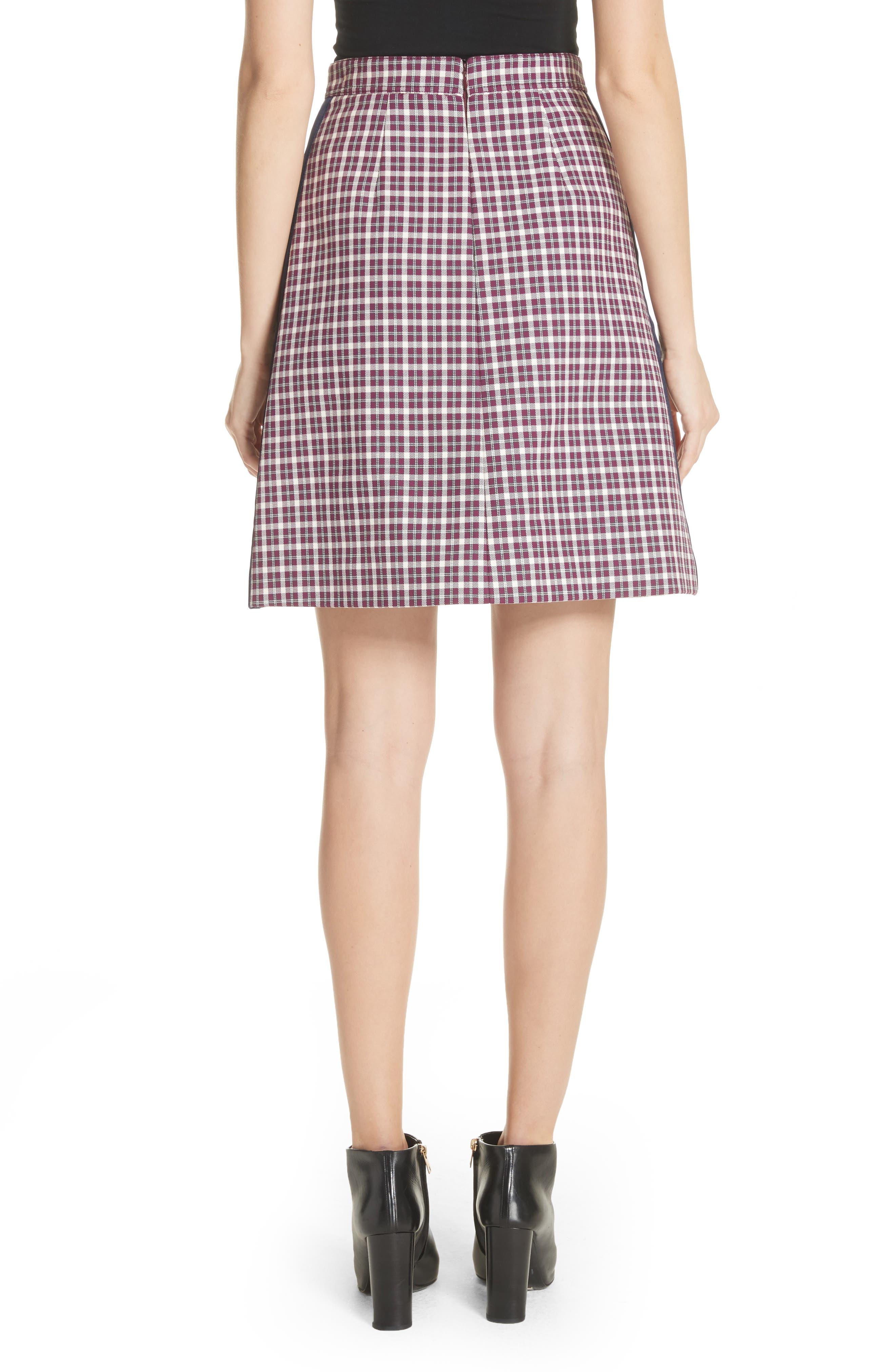 Stanforth Plaid A-Line Skirt,                             Alternate thumbnail 2, color,                             BURGUNDY