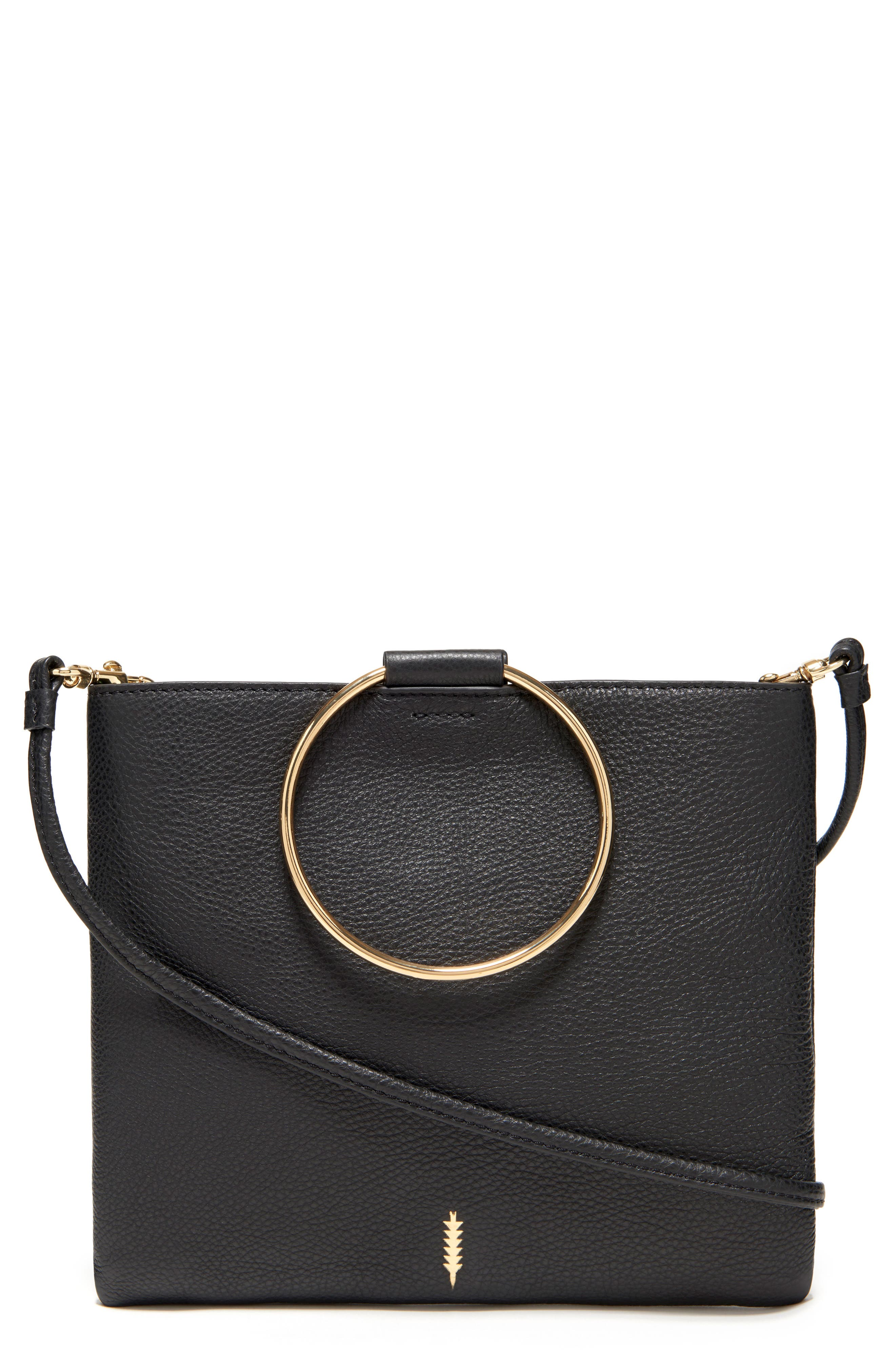 THACKER,                             Le Pouch Leather Ring Handle Crossbody Bag,                             Main thumbnail 1, color,                             001
