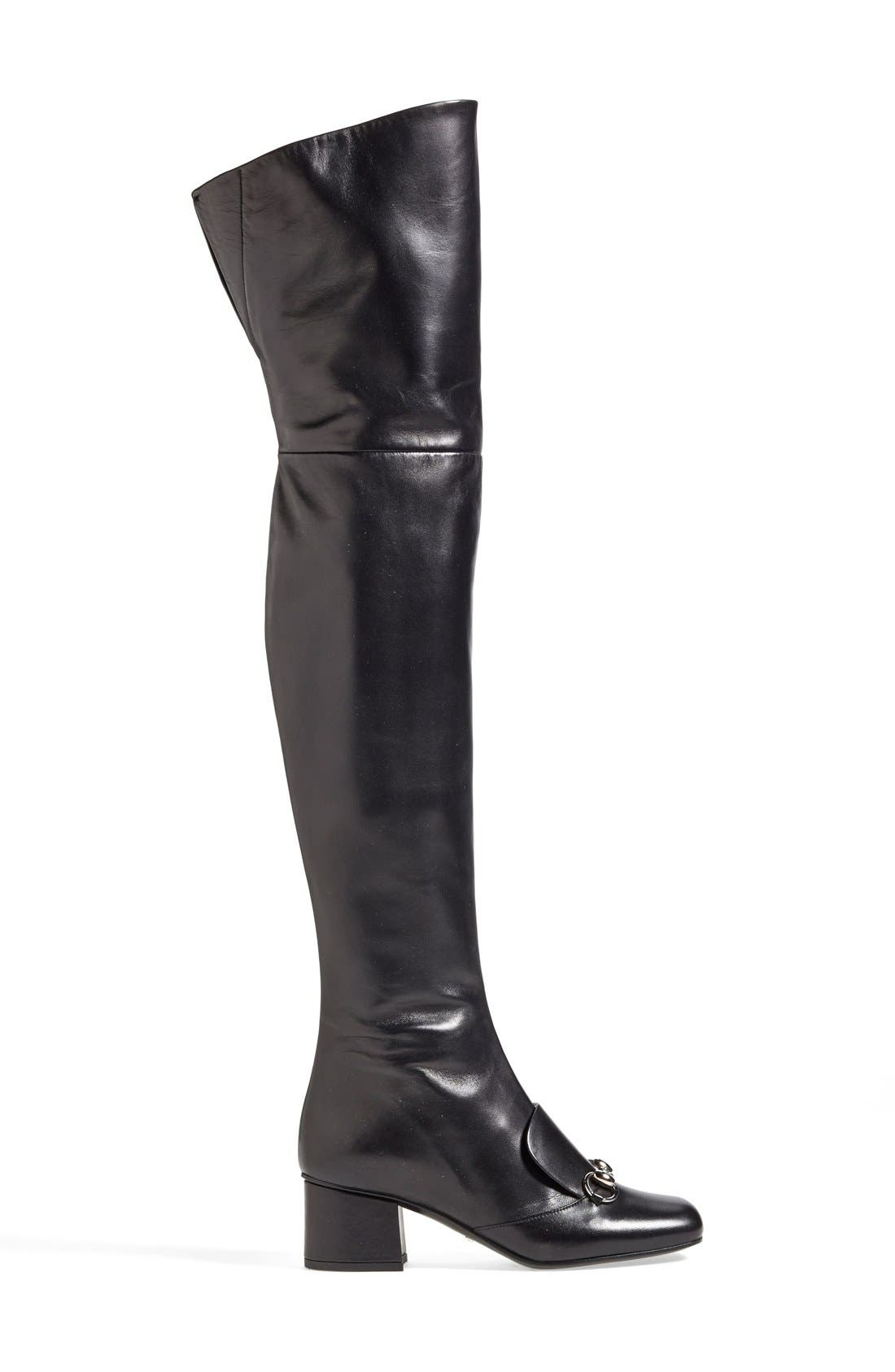 GUCCI,                             'Lillian' Over the Knee Boot,                             Alternate thumbnail 3, color,                             001