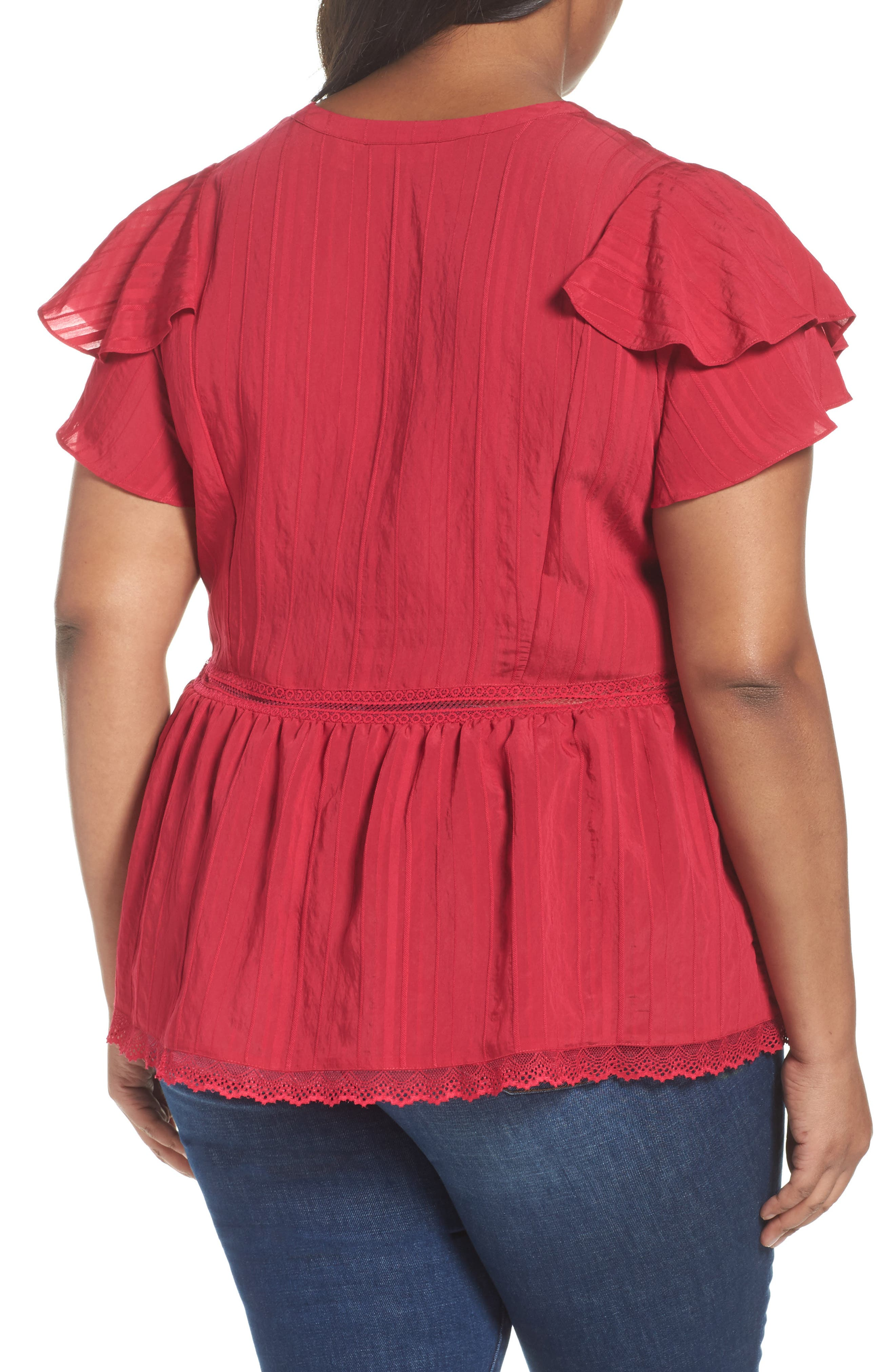 Lace Trim Pintuck Pleated Top,                             Alternate thumbnail 5, color,