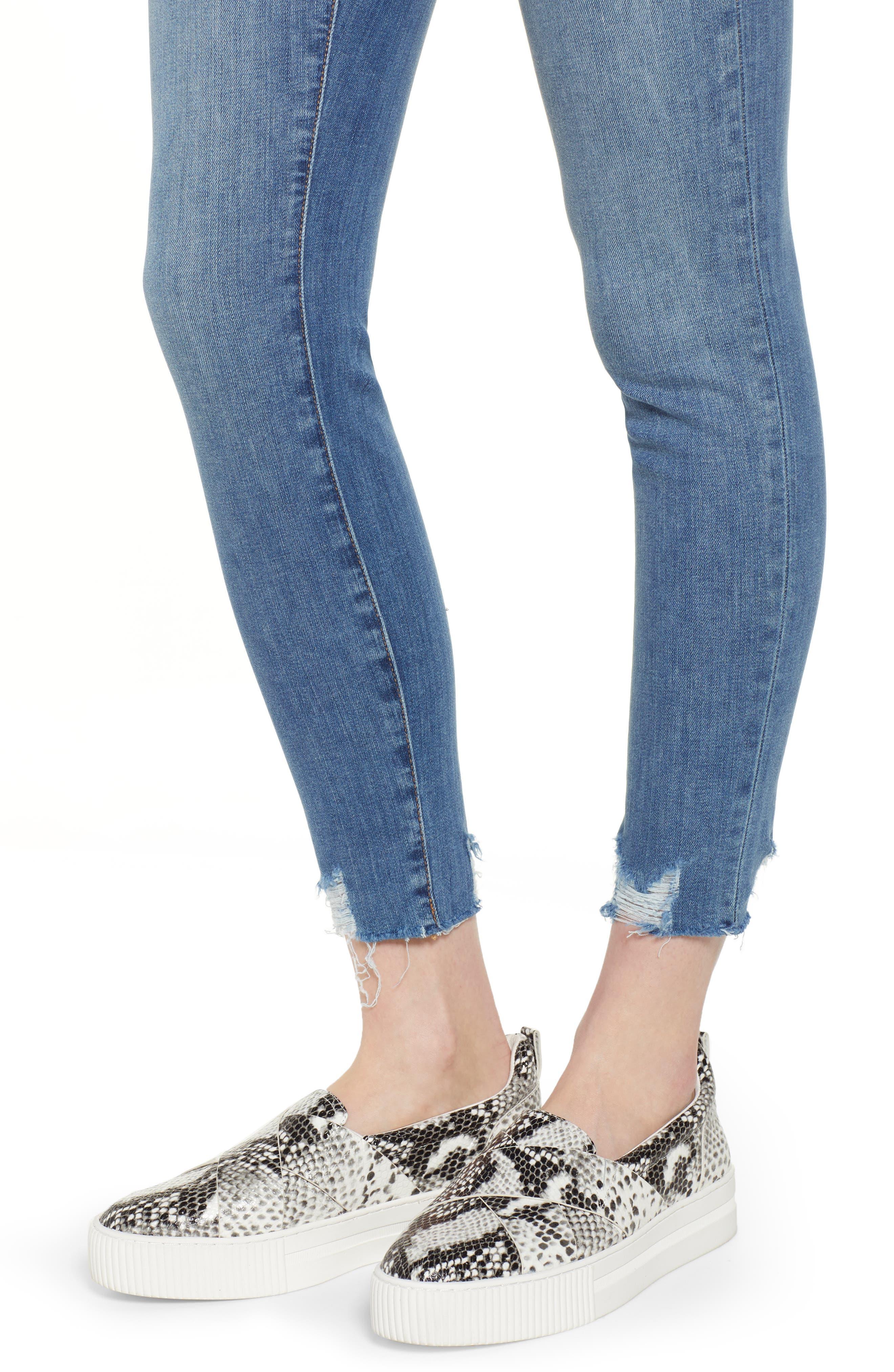 Sierra High Waist Raw Hem Skinny Jeans,                             Alternate thumbnail 4, color,                             NORIKO