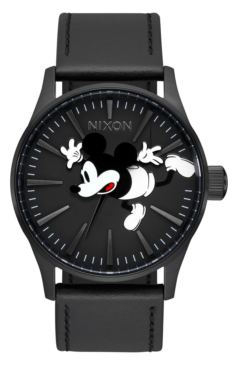 Nixon Watches x Disney Mouse Sentry Leather Strap Watch, 42mm