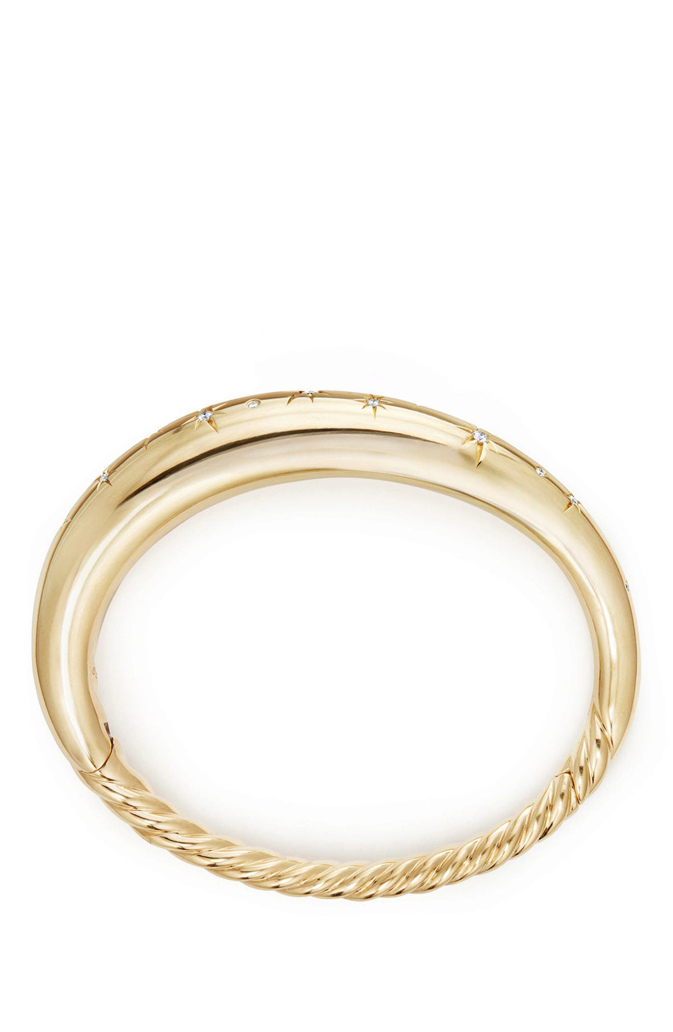 Pure Form<sup>®</sup> CollectionPure Form<sup>®</sup> Smooth 18K Gold Bracelet with Diamonds, 9.5mm,                             Alternate thumbnail 2, color,                             YELLOW GOLD