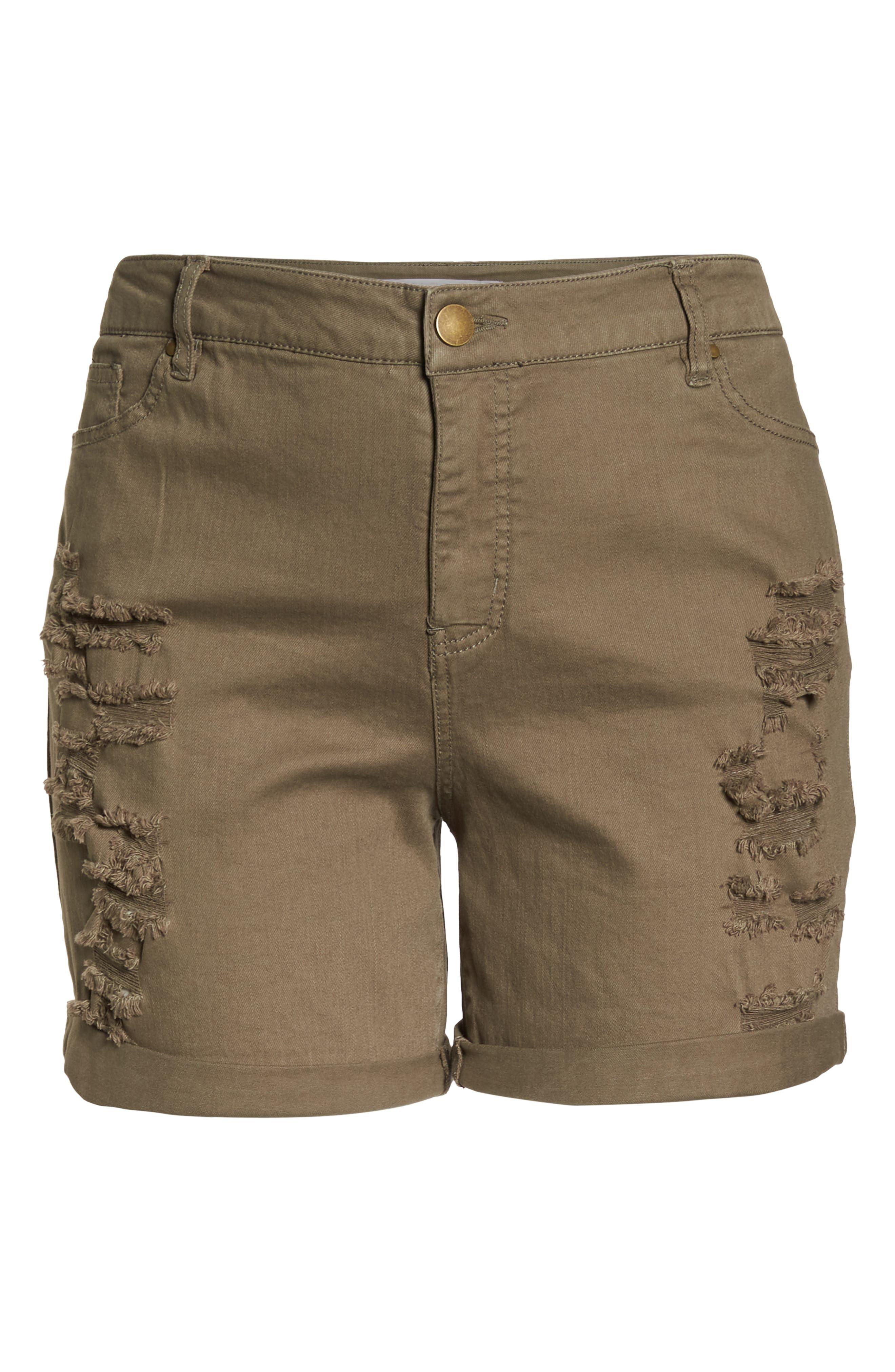 Ripped Bermuda Shorts,                             Alternate thumbnail 6, color,                             OLIVE