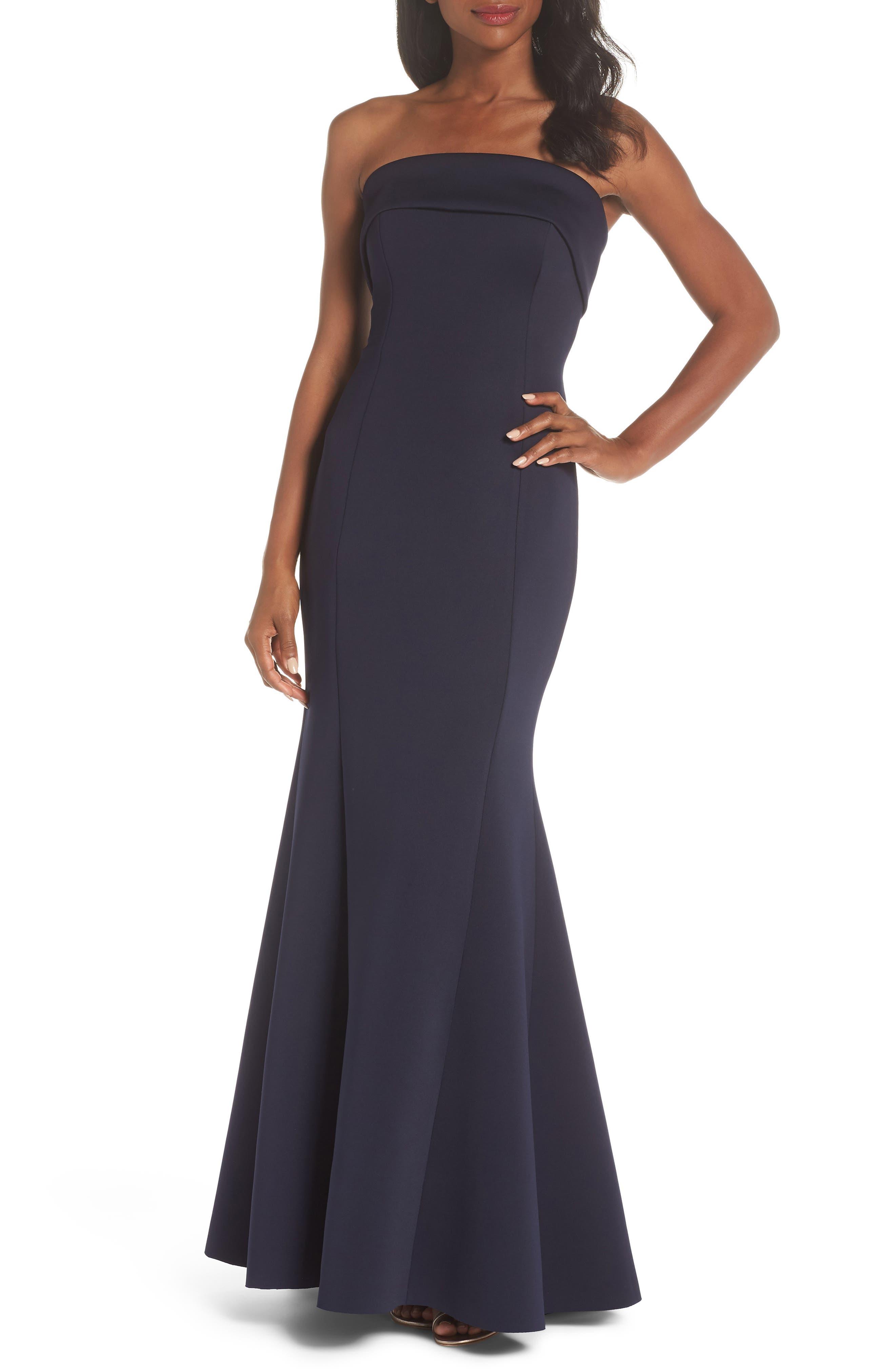 Eliza J Strapless Gown, Blue