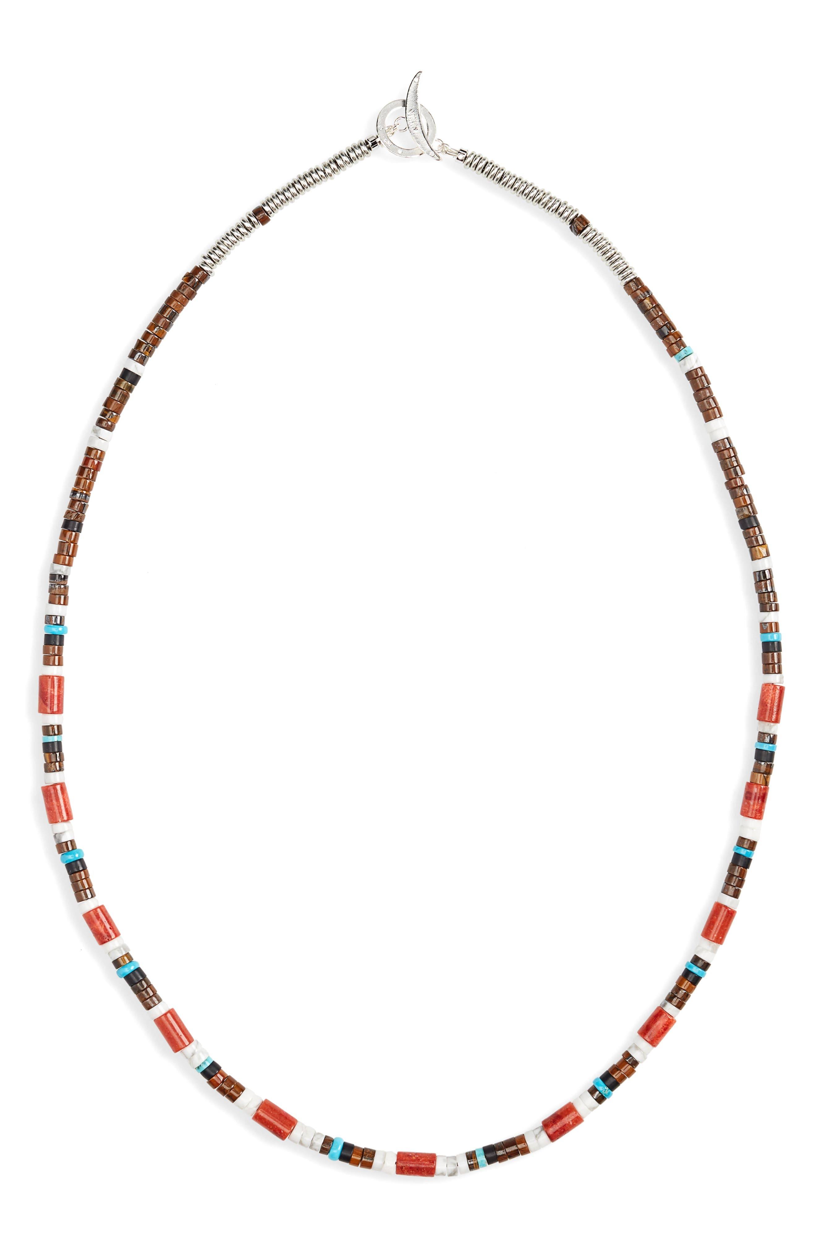 MIKIA Bead Necklace in Coral/ Turquoise