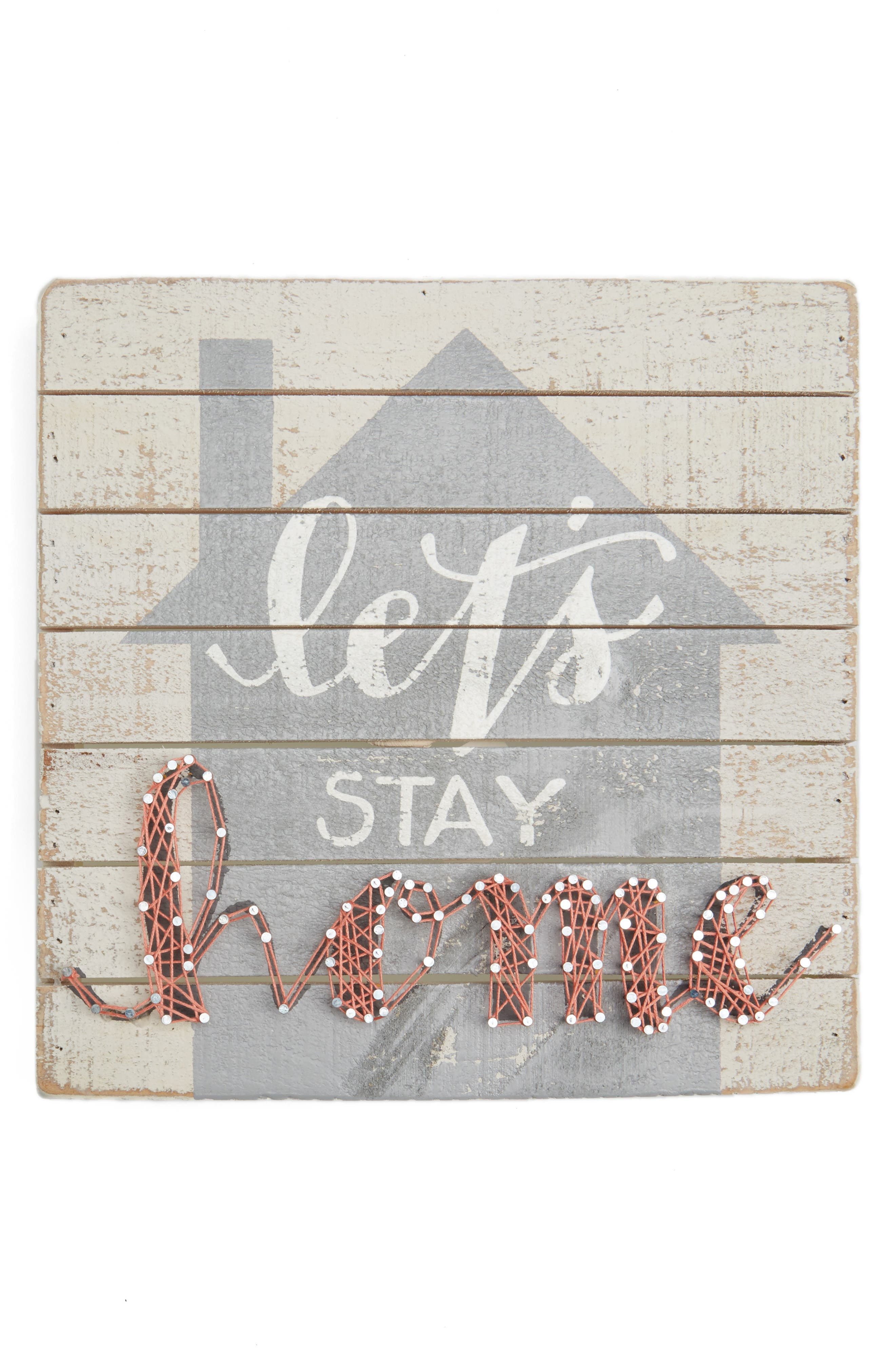 Let's Stay Home String Art Box Sign,                             Main thumbnail 1, color,