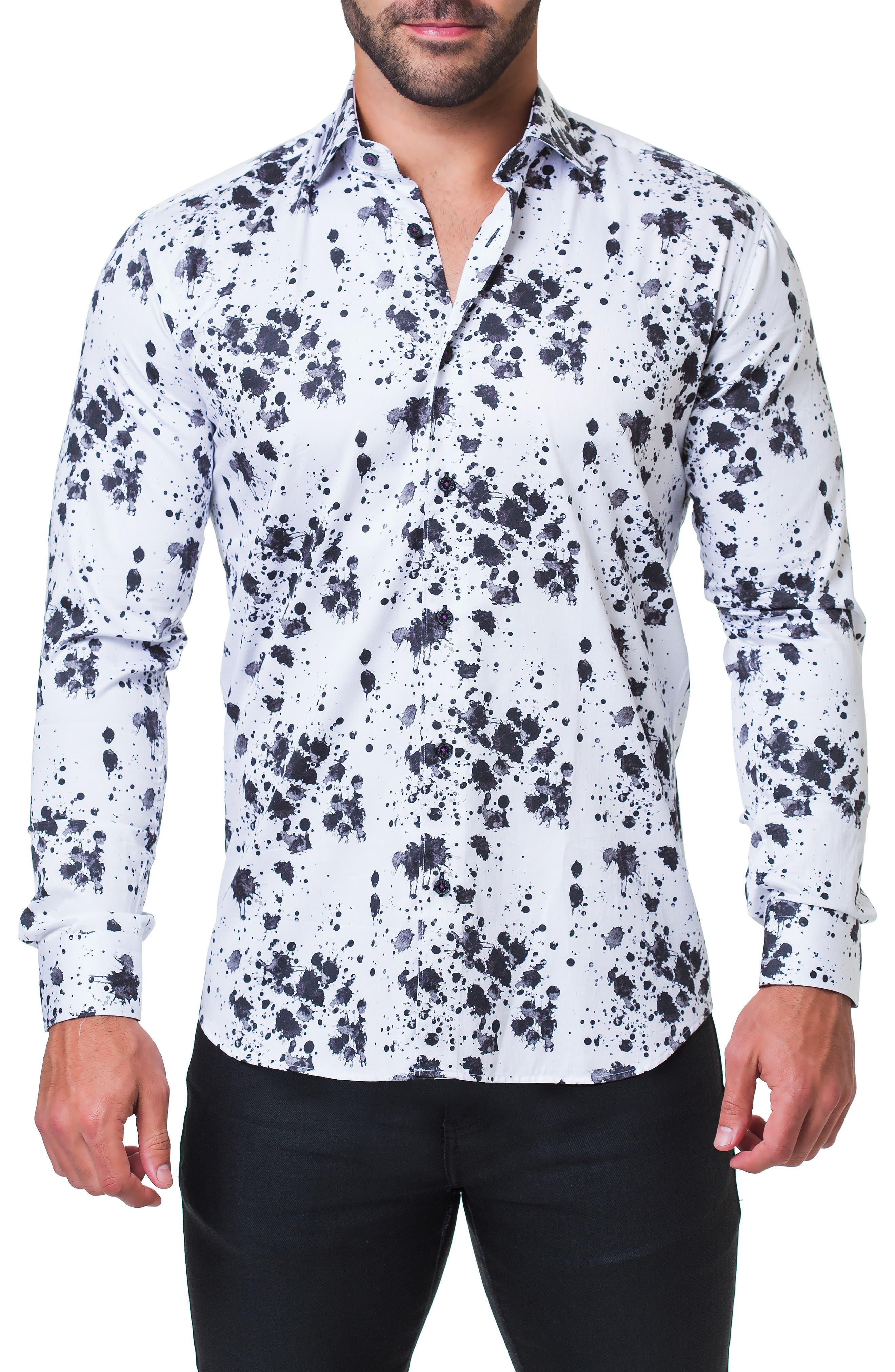 Fibonacci Splash Print Sport Shirt,                             Main thumbnail 1, color,                             BLACK