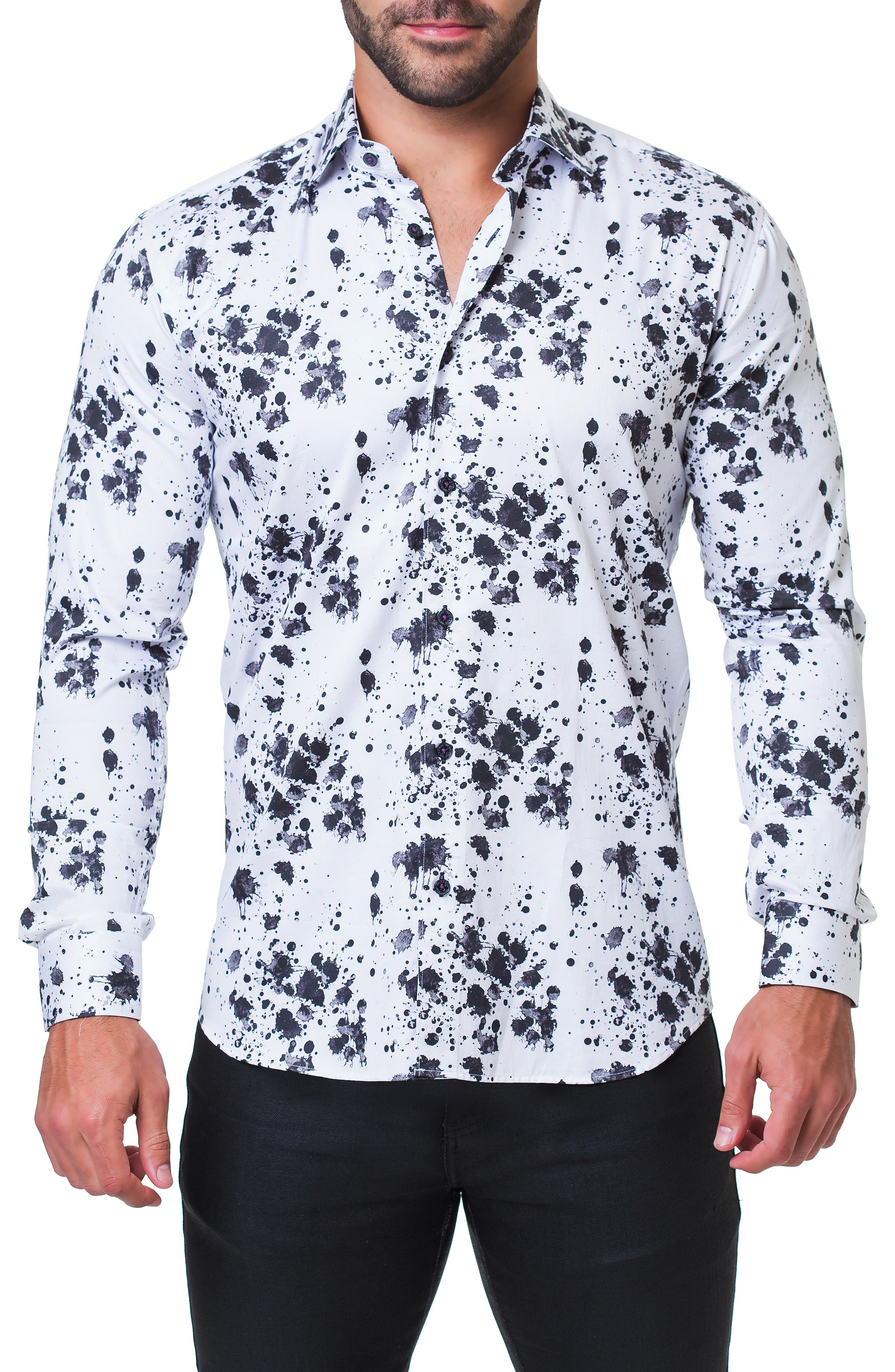 Fibonacci Splash Print Sport Shirt,                         Main,                         color, BLACK