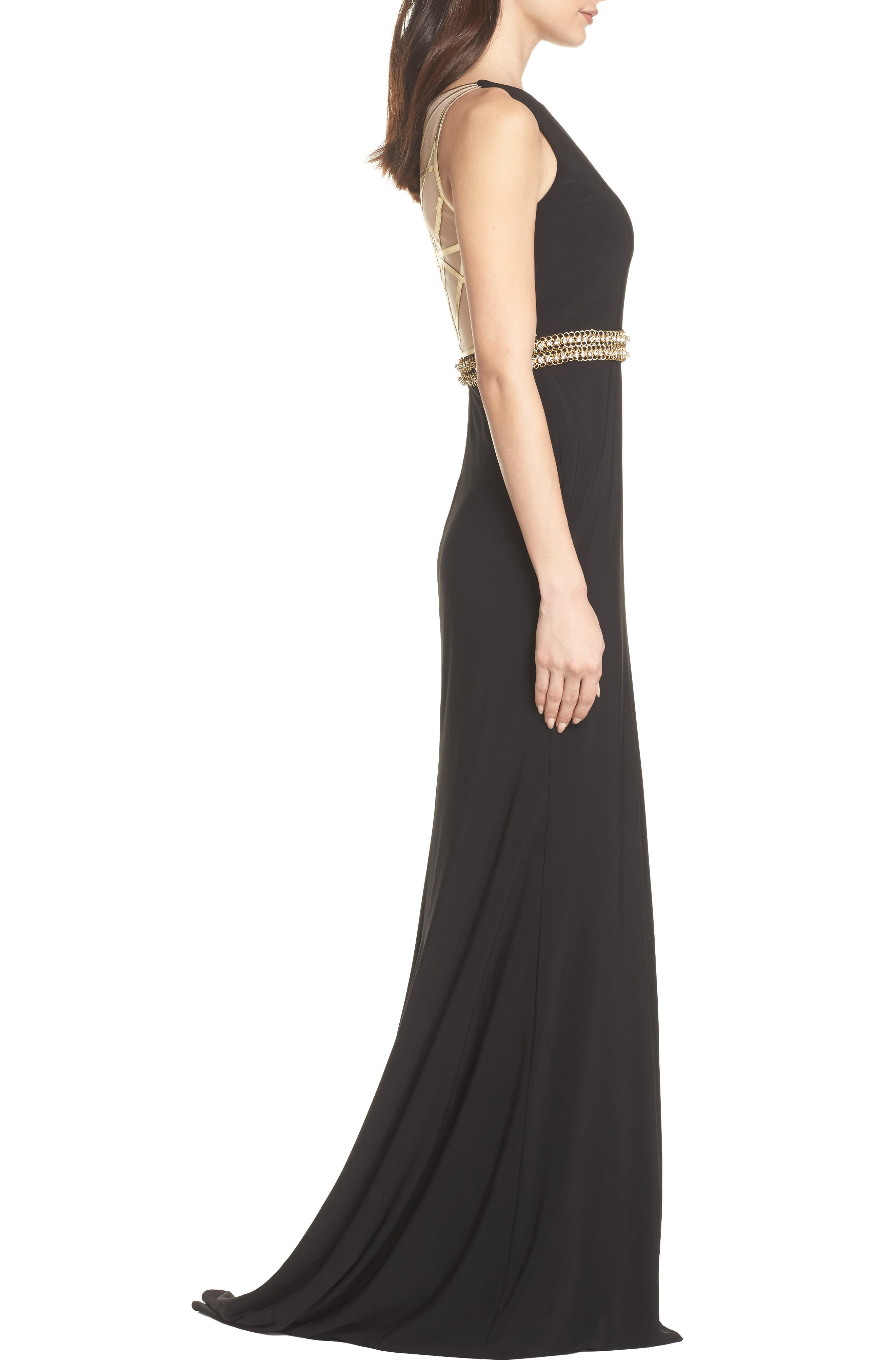 Embellished Waist Gown,                             Alternate thumbnail 3, color,                             BLACK
