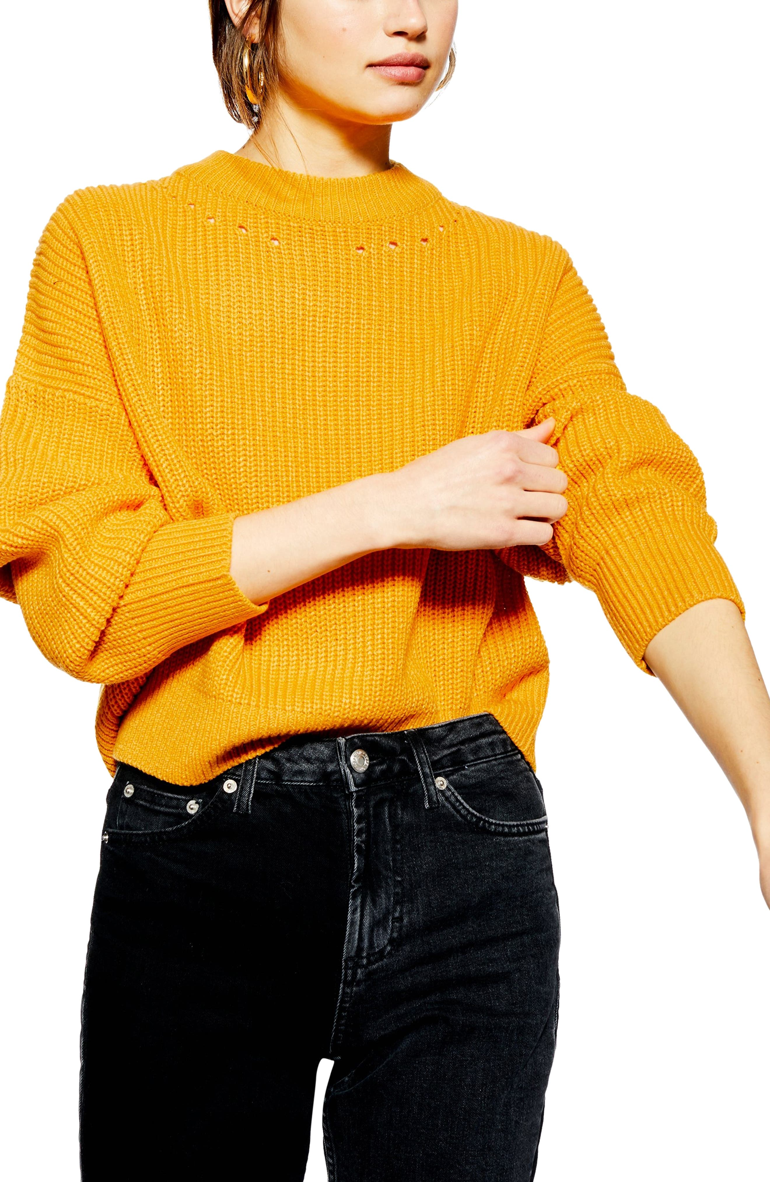 Topshop Pointelle Trim Sweater, Yellow