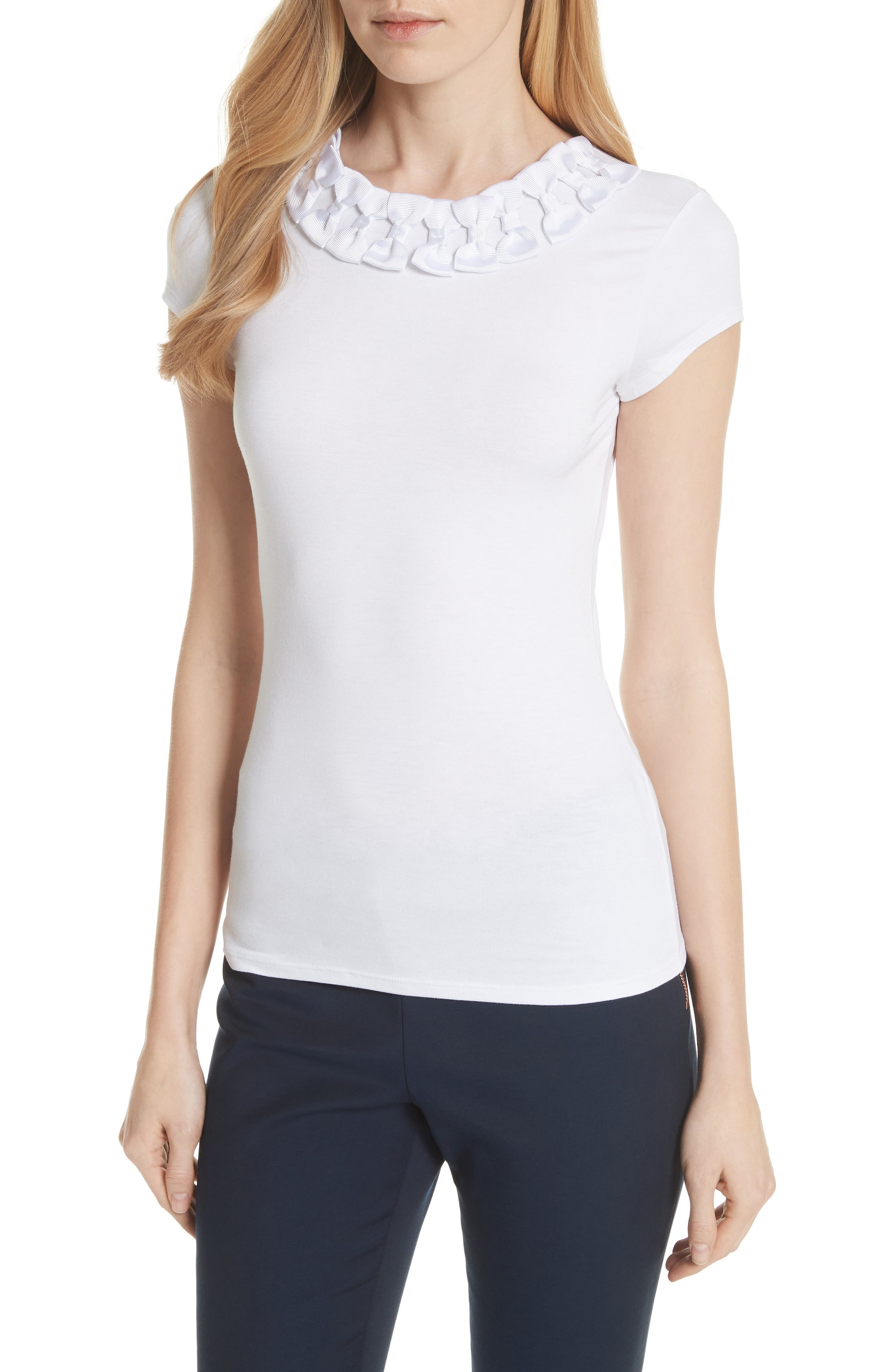 Ted Baker Bow Trim Tee,                             Main thumbnail 1, color,