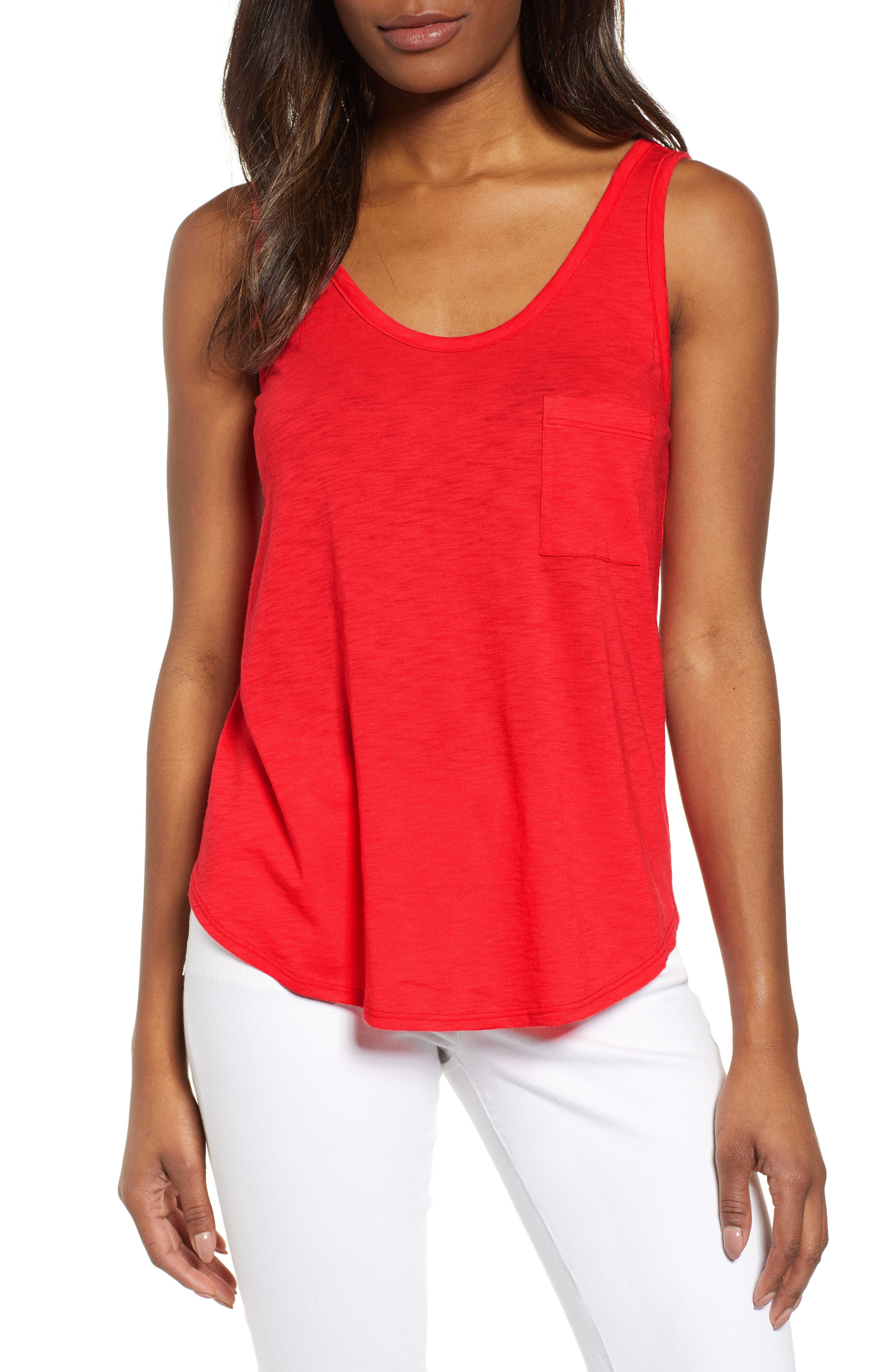x Hi Sugarplum! Summerland Scooped Neck Pocket Tank Top,                             Main thumbnail 1, color,                             HIBISCUS