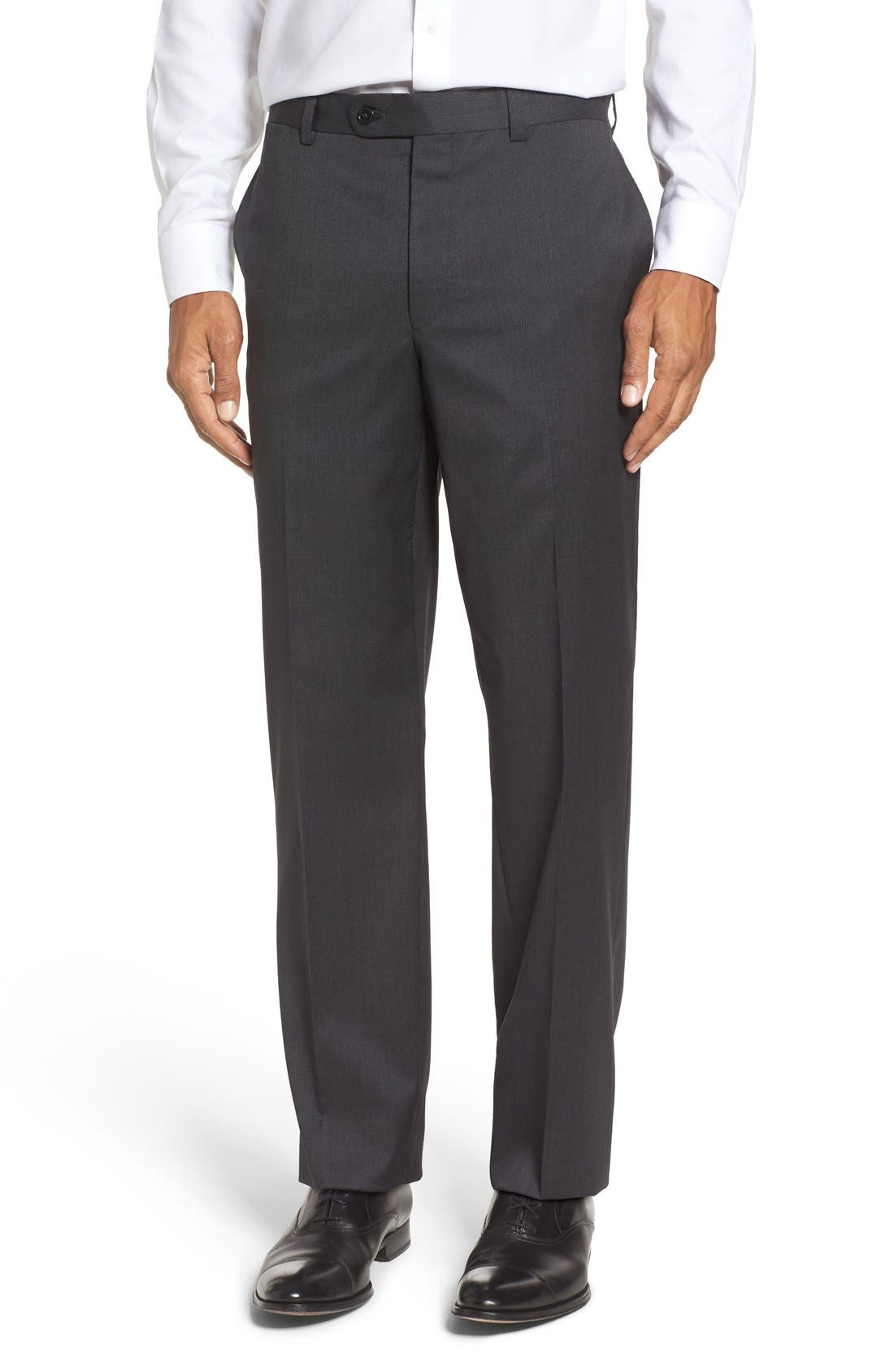 RIVIERA Flat Front Solid Wool Trousers, Main, color, 010