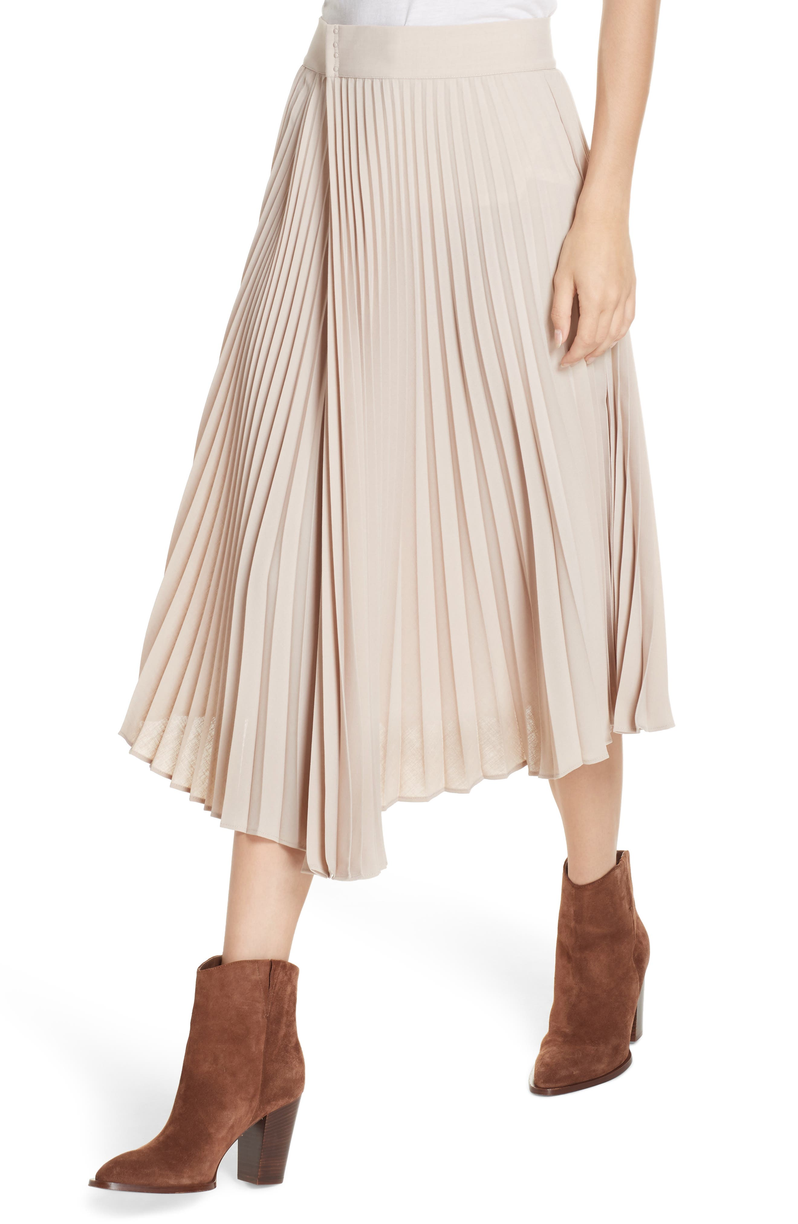 Asymmetric Hem Pleated Skirt,                             Alternate thumbnail 4, color,                             STONEWARE