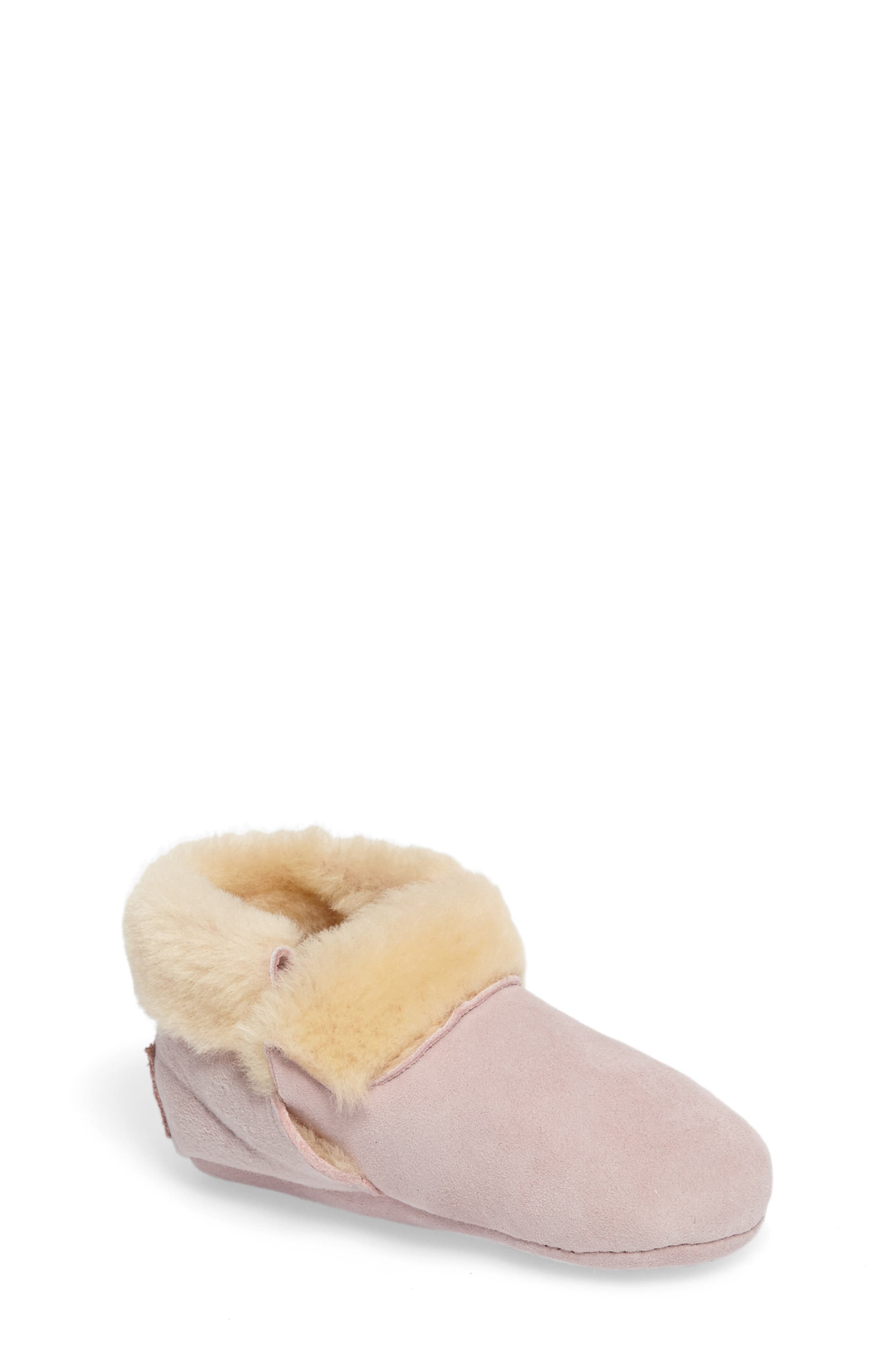 Solvi Genuine Shearling Low Cuffed Bootie,                             Main thumbnail 1, color,                             BABY PINK