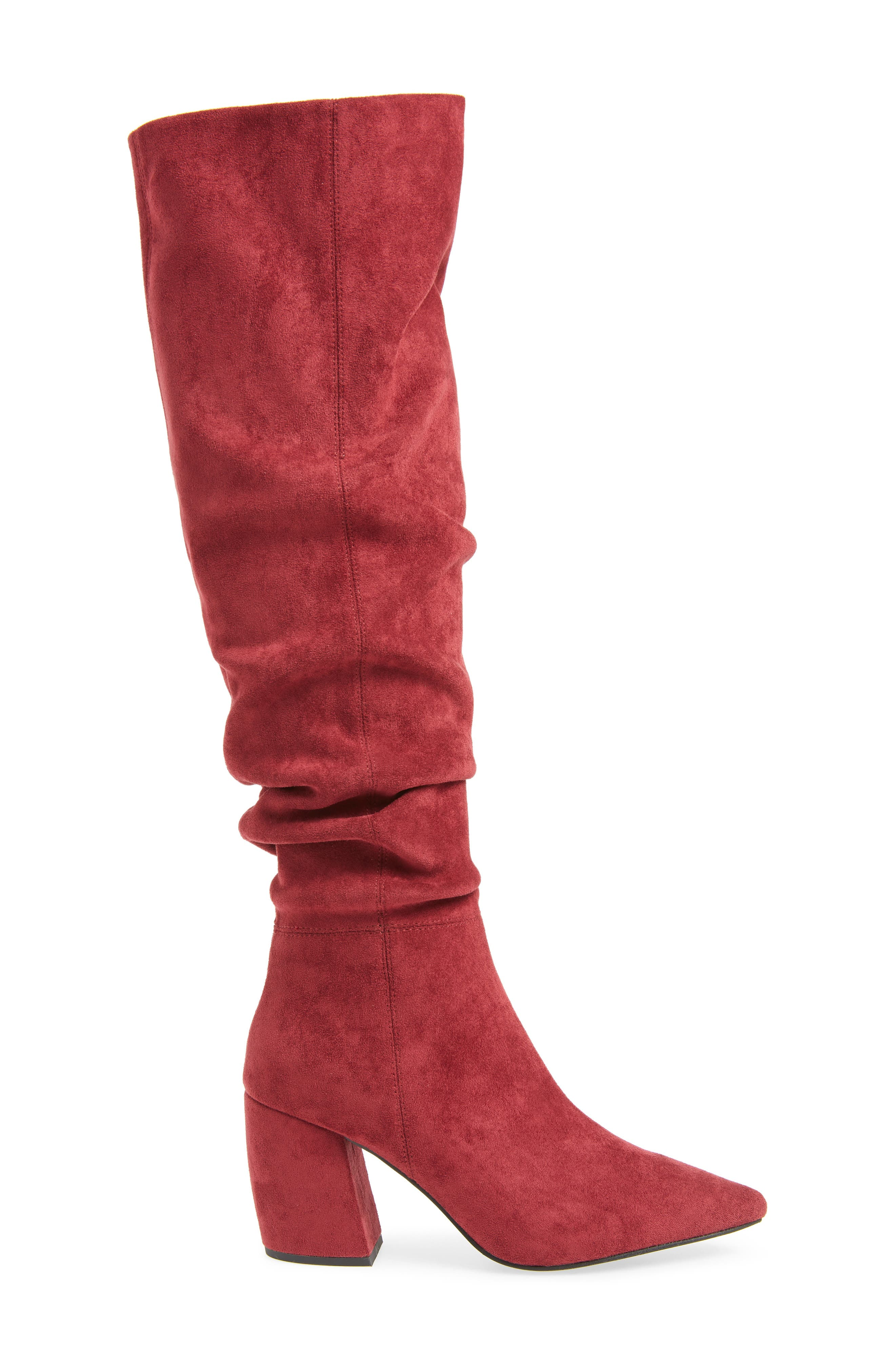 Final Slouch Over the Knee Boot,                             Alternate thumbnail 3, color,                             WINE SUEDE