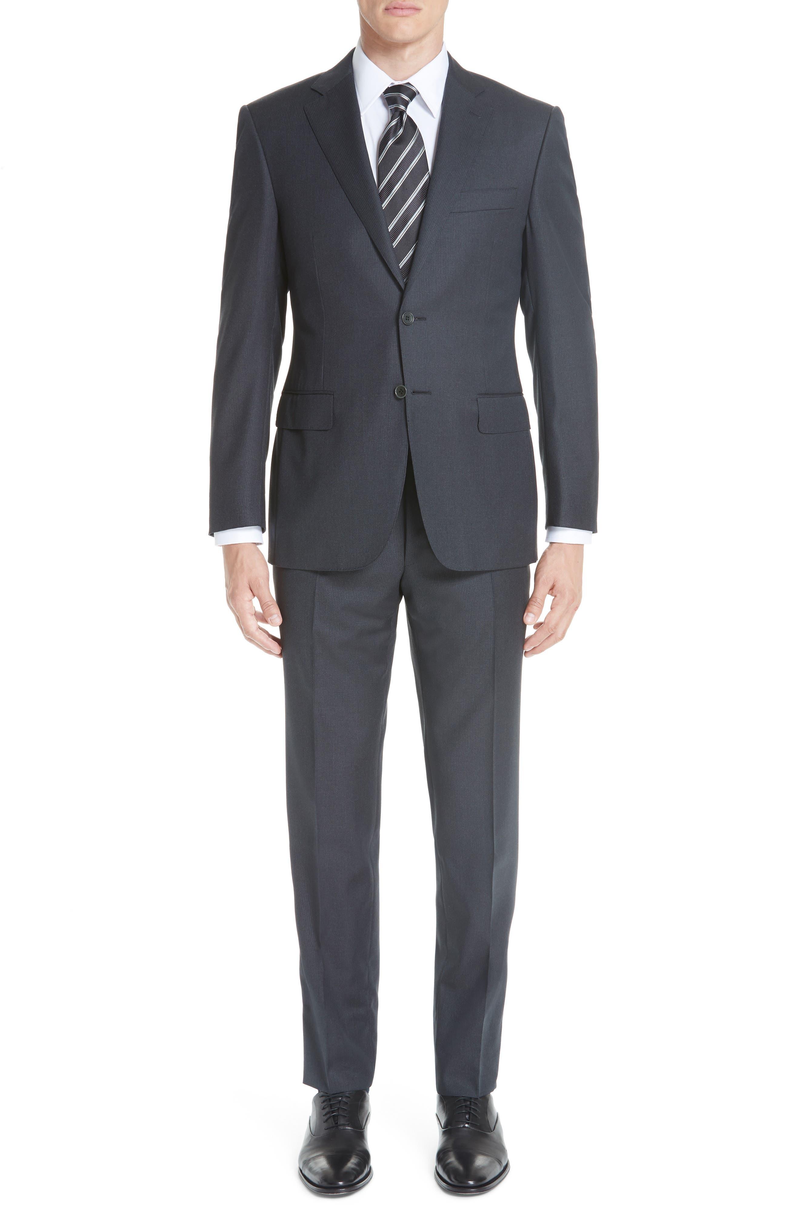 Classic Fit Stripe Wool Suit,                             Main thumbnail 1, color,                             020