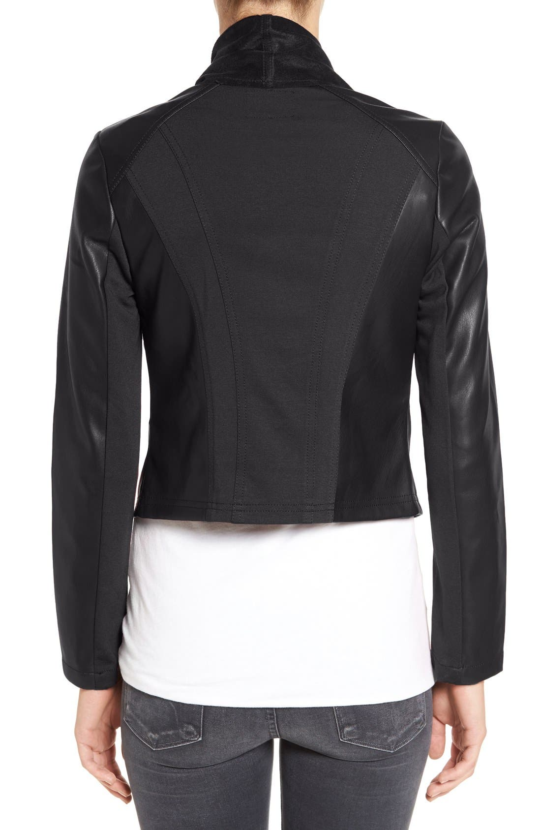 'Ana' Faux Leather Drape Front Jacket,                             Alternate thumbnail 4, color,                             BLACK