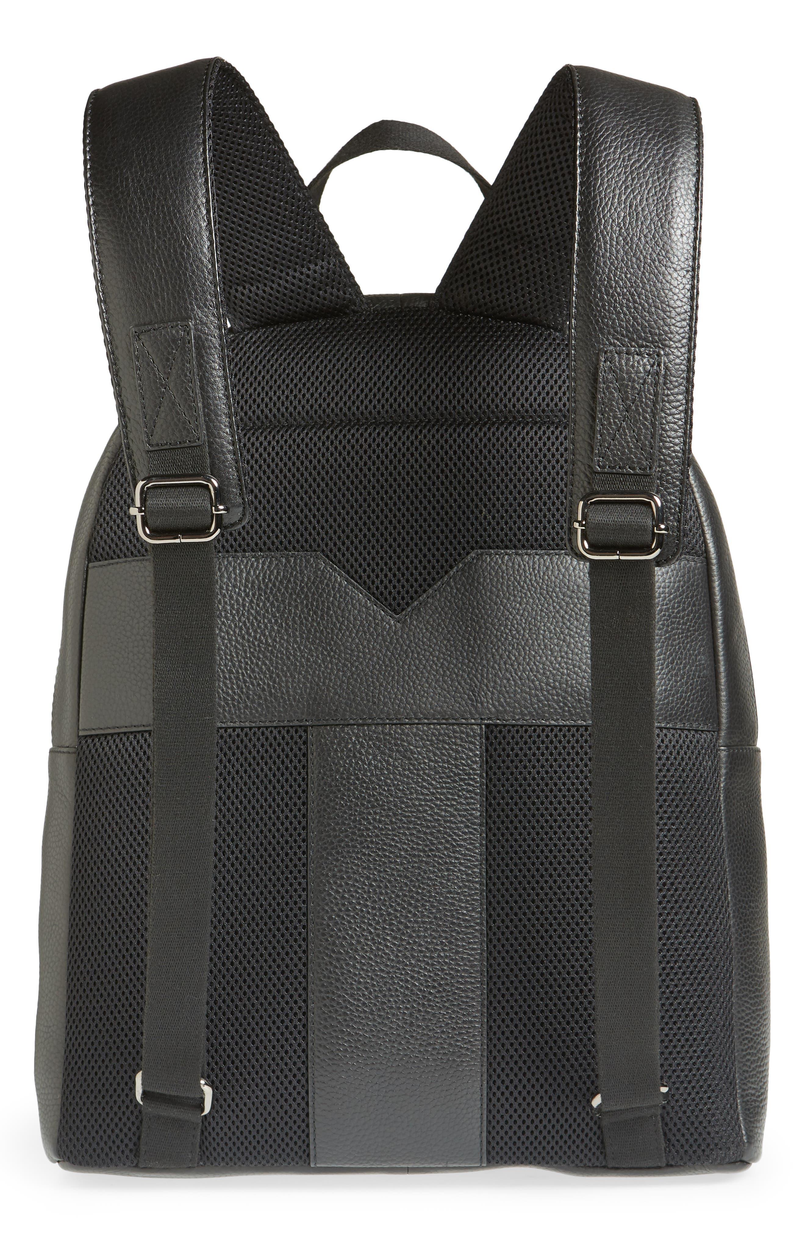 Rickrak Leather Backpack,                             Alternate thumbnail 3, color,                             BLACK