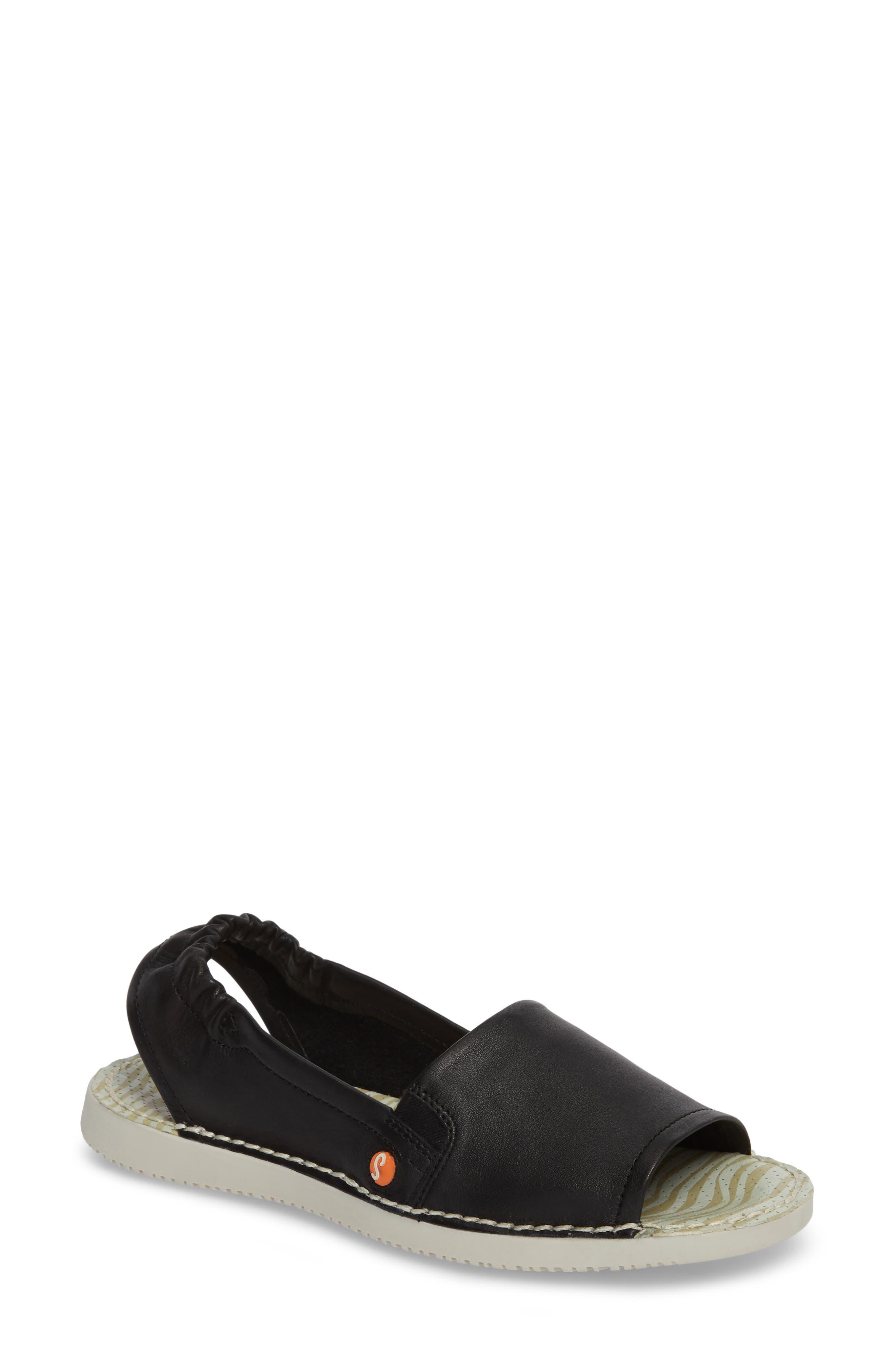Tee Flat Sandal,                             Main thumbnail 1, color,                             BLACK LEATHER