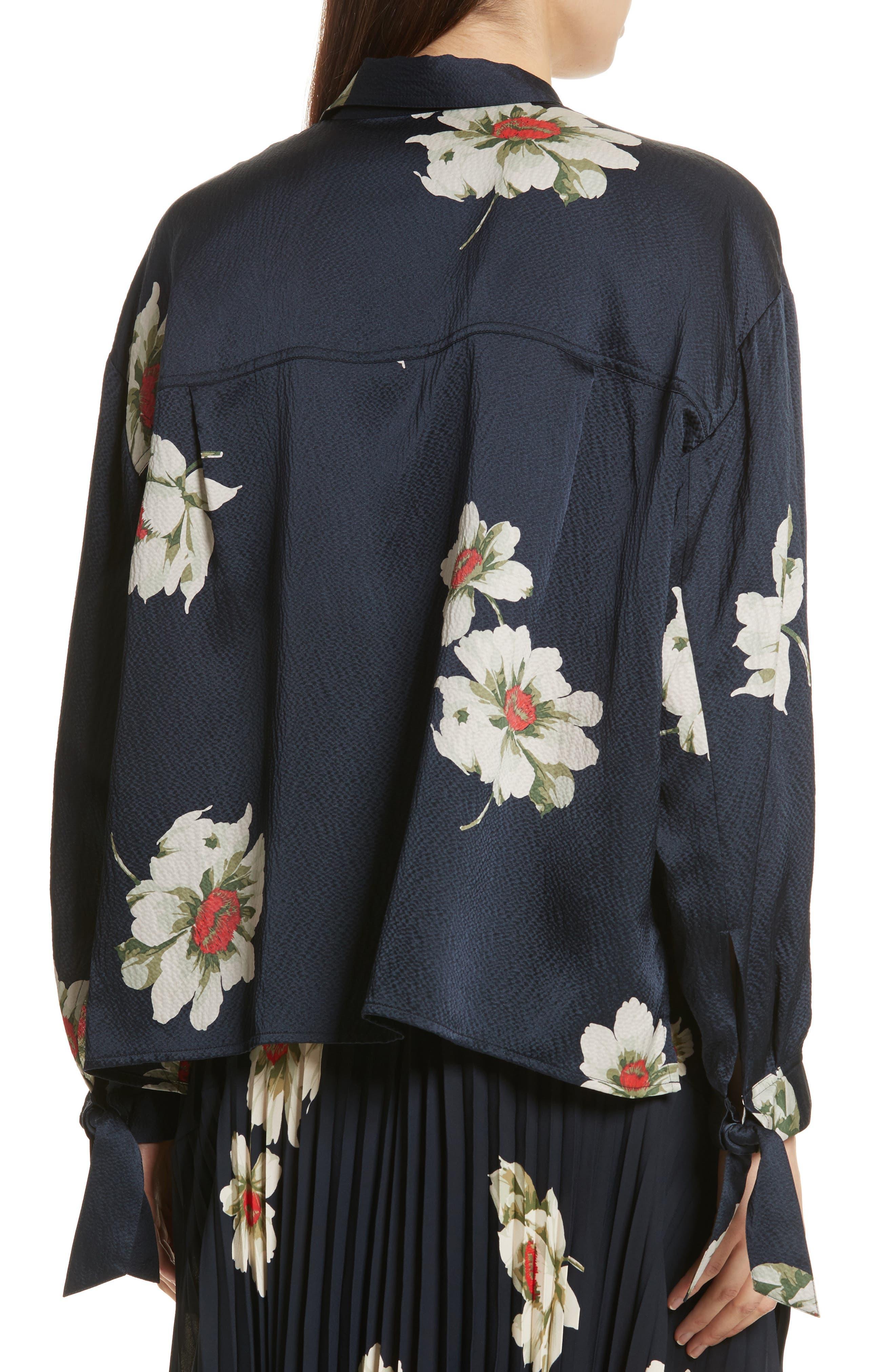 Gardenia Floral Silk Blouse,                             Alternate thumbnail 2, color,