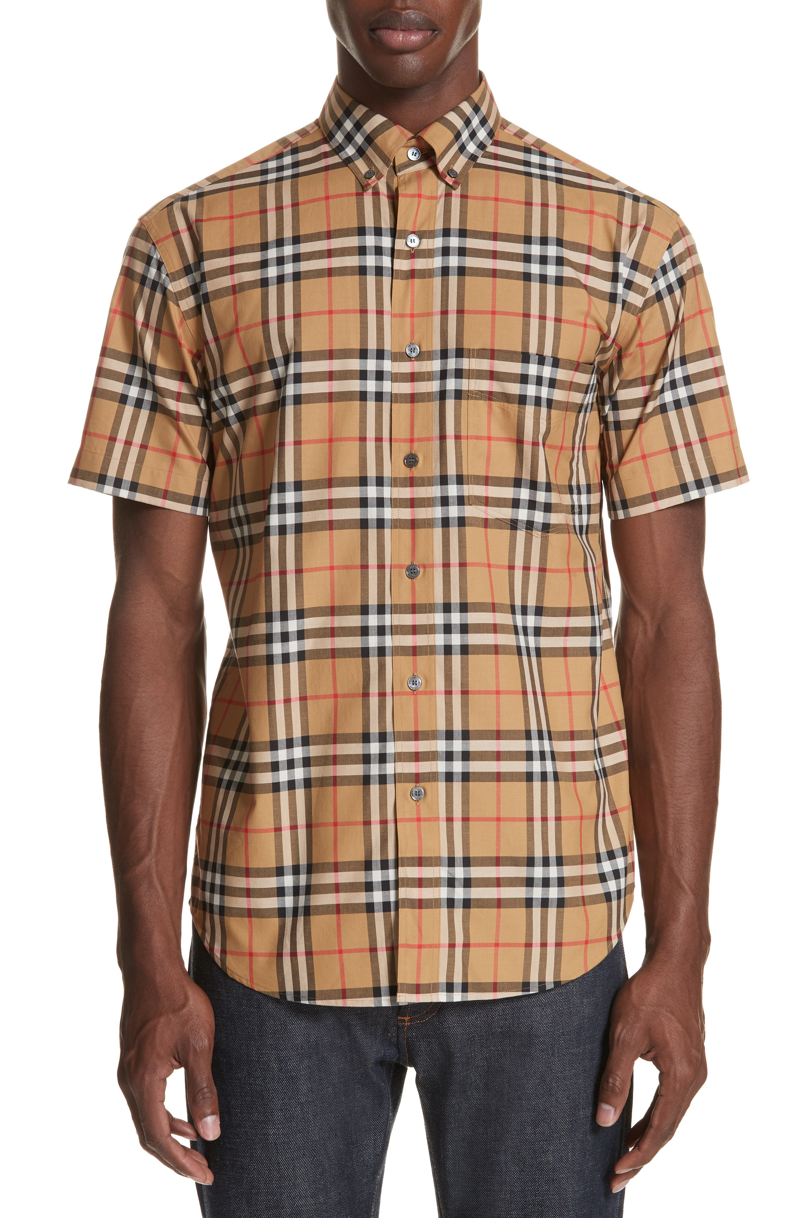 Jameson Woven Check Sport Shirt,                             Main thumbnail 1, color,                             ANTIQUE YELLOW