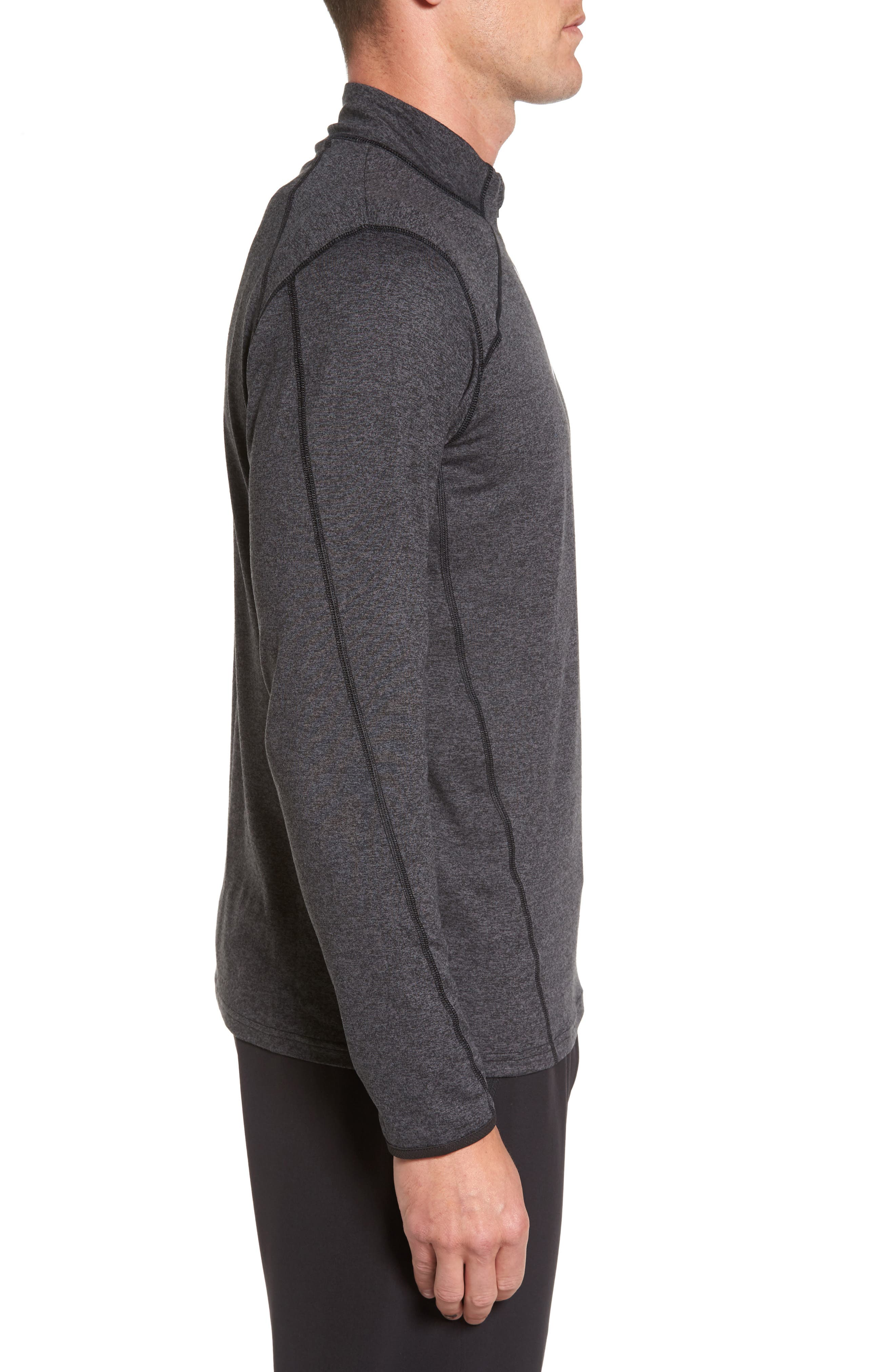 'Elevate' Moisture Wicking Stretch Quarter Zip Pullover,                             Alternate thumbnail 3, color,                             001