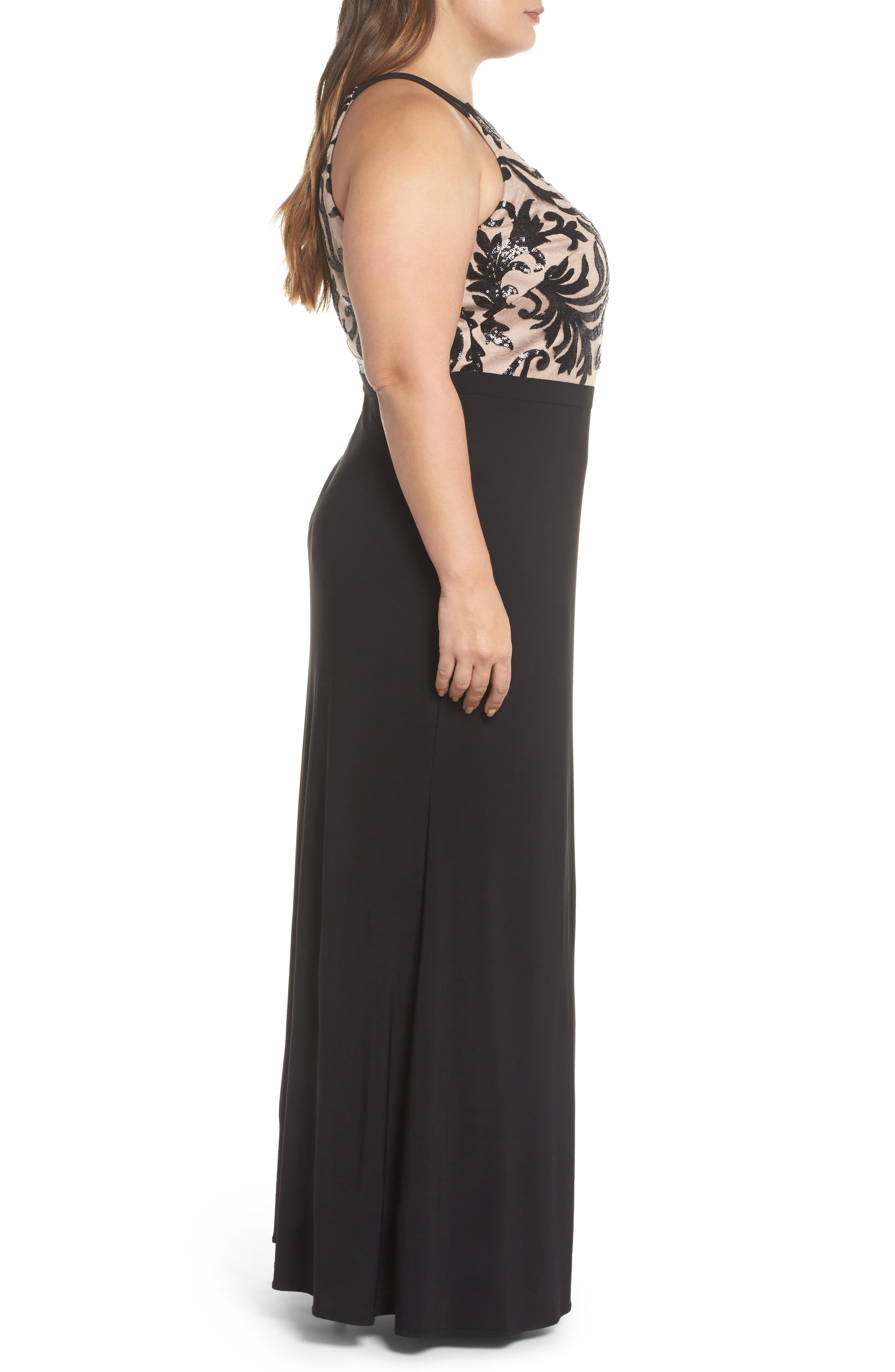Sequin Bodice Gown,                             Alternate thumbnail 3, color,                             BLACK/ NUDE