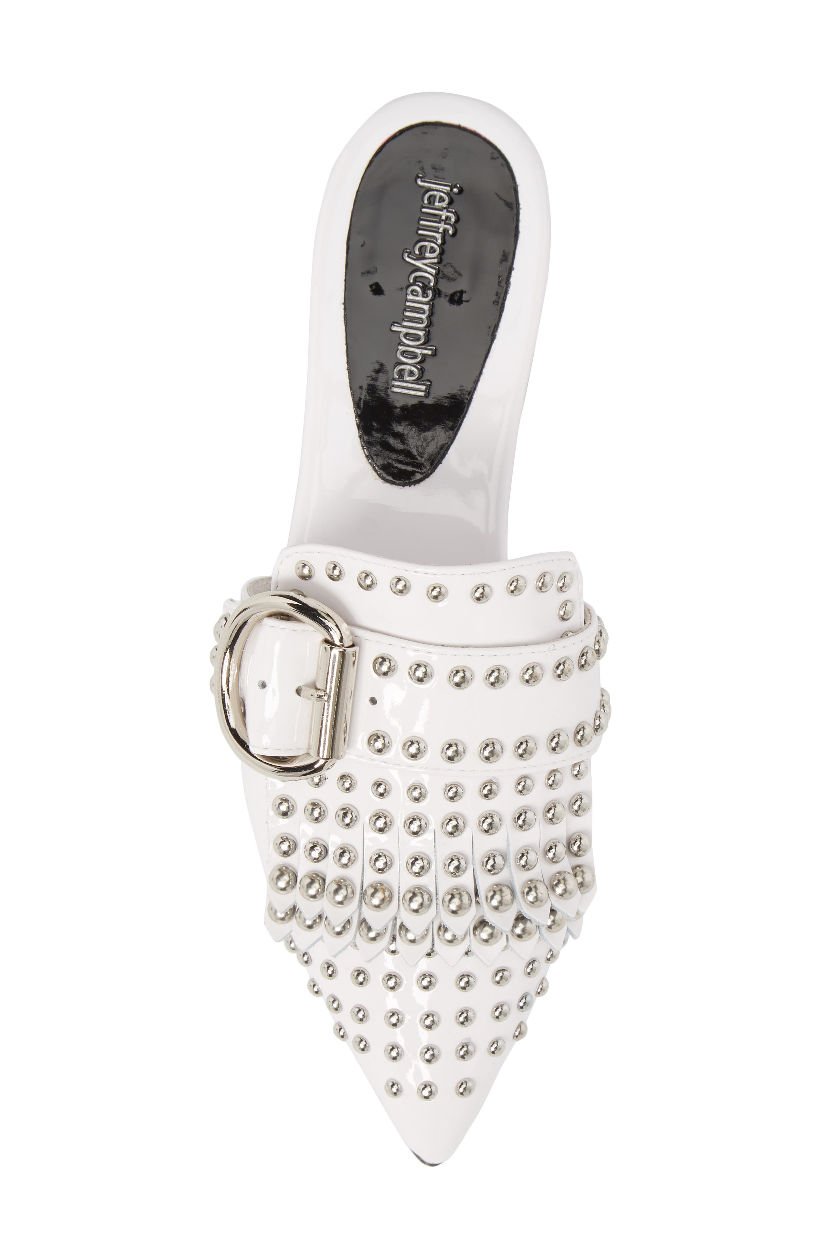 Daniel Studded Loafer Mule,                             Alternate thumbnail 5, color,                             WHITE PATENT