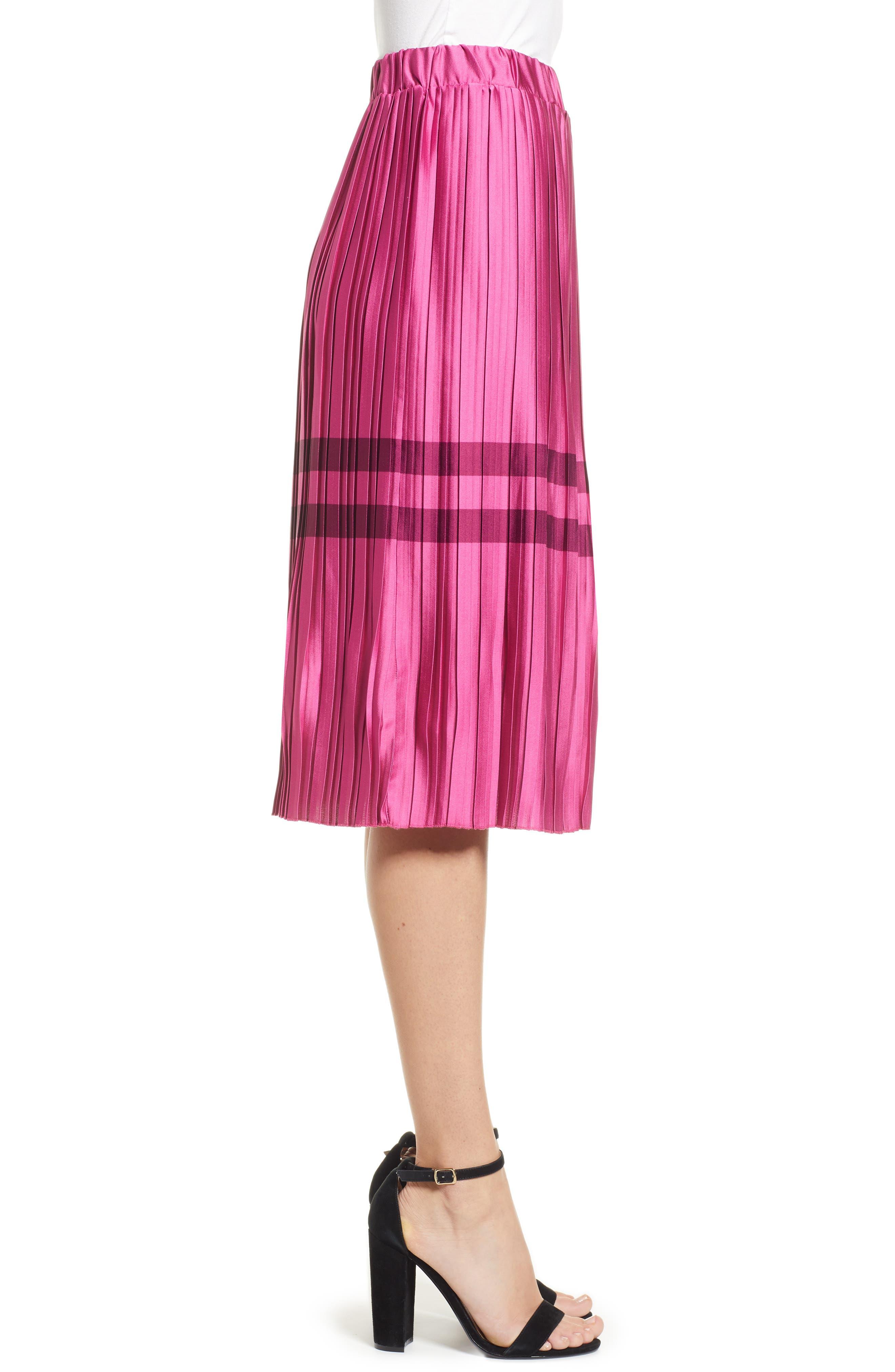 Niti Pleated Skirt,                             Alternate thumbnail 3, color,                             FESTIVAL FUCHSIA