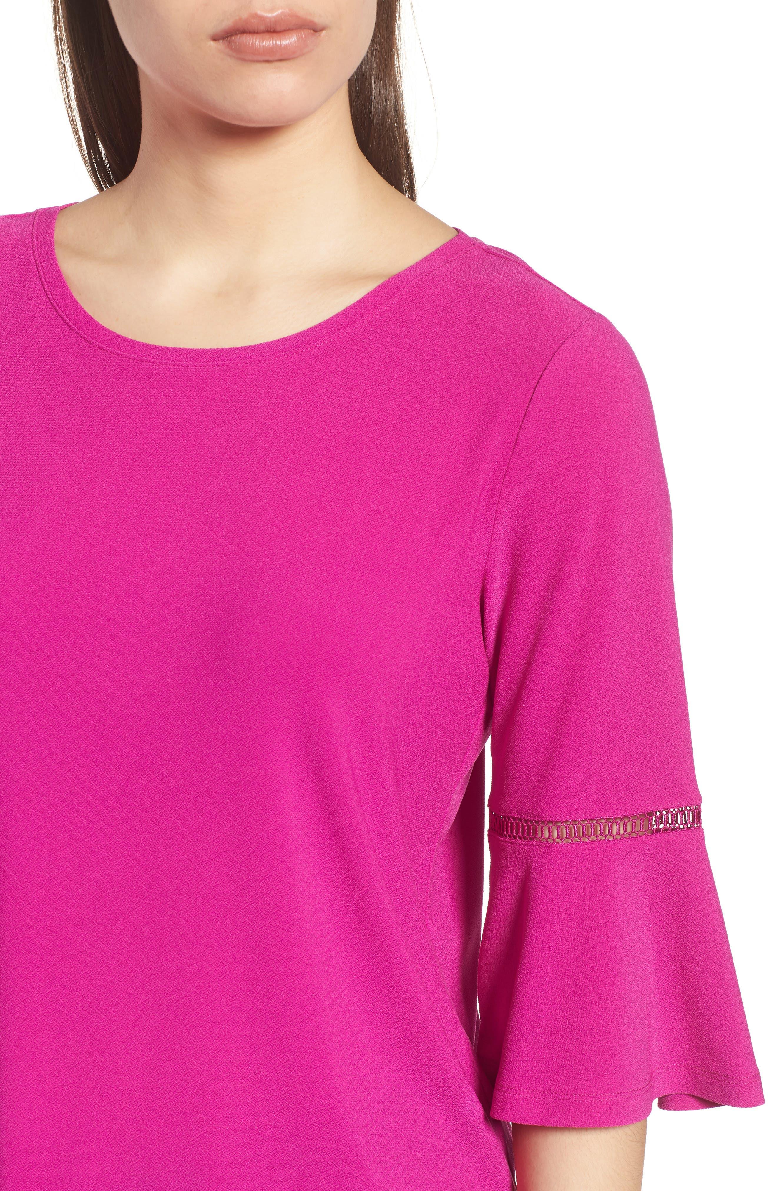Crochet Detail Bell Sleeve Top,                             Alternate thumbnail 12, color,