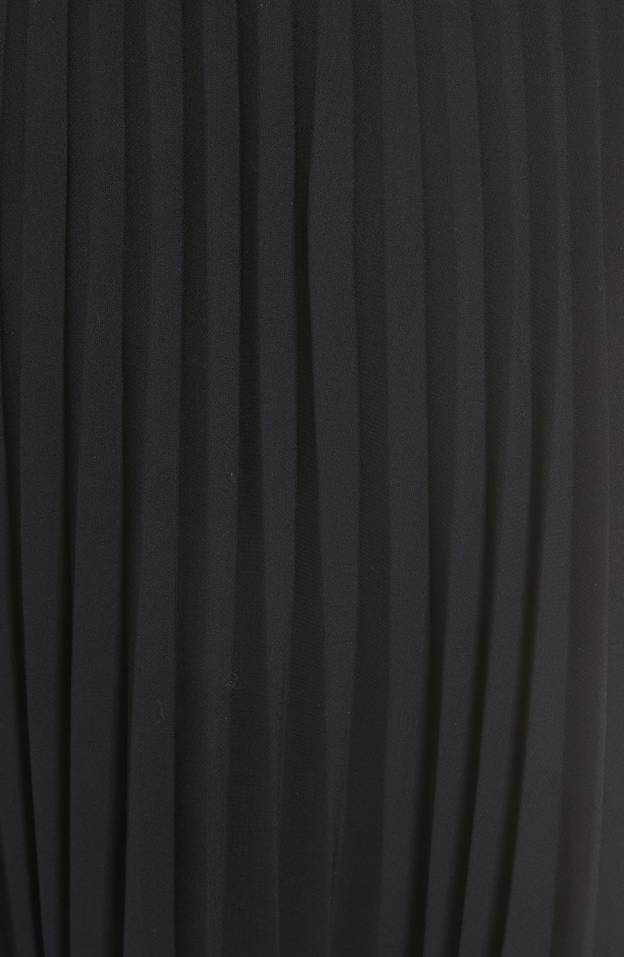 Pleated Chiffon Midi Skirt,                             Alternate thumbnail 5, color,                             001