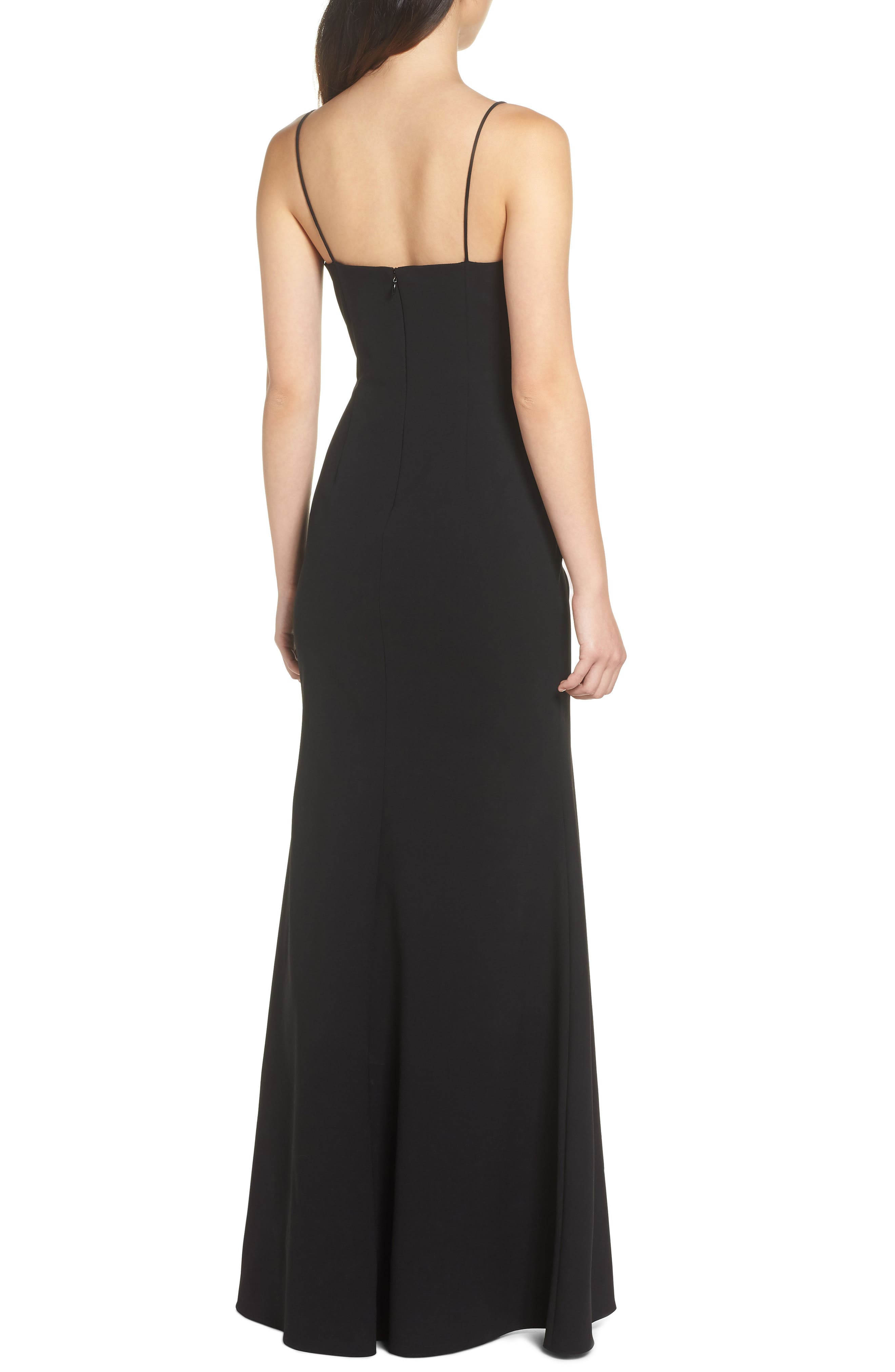 Plunge Sweetheart Gown,                             Alternate thumbnail 2, color,                             BLACK