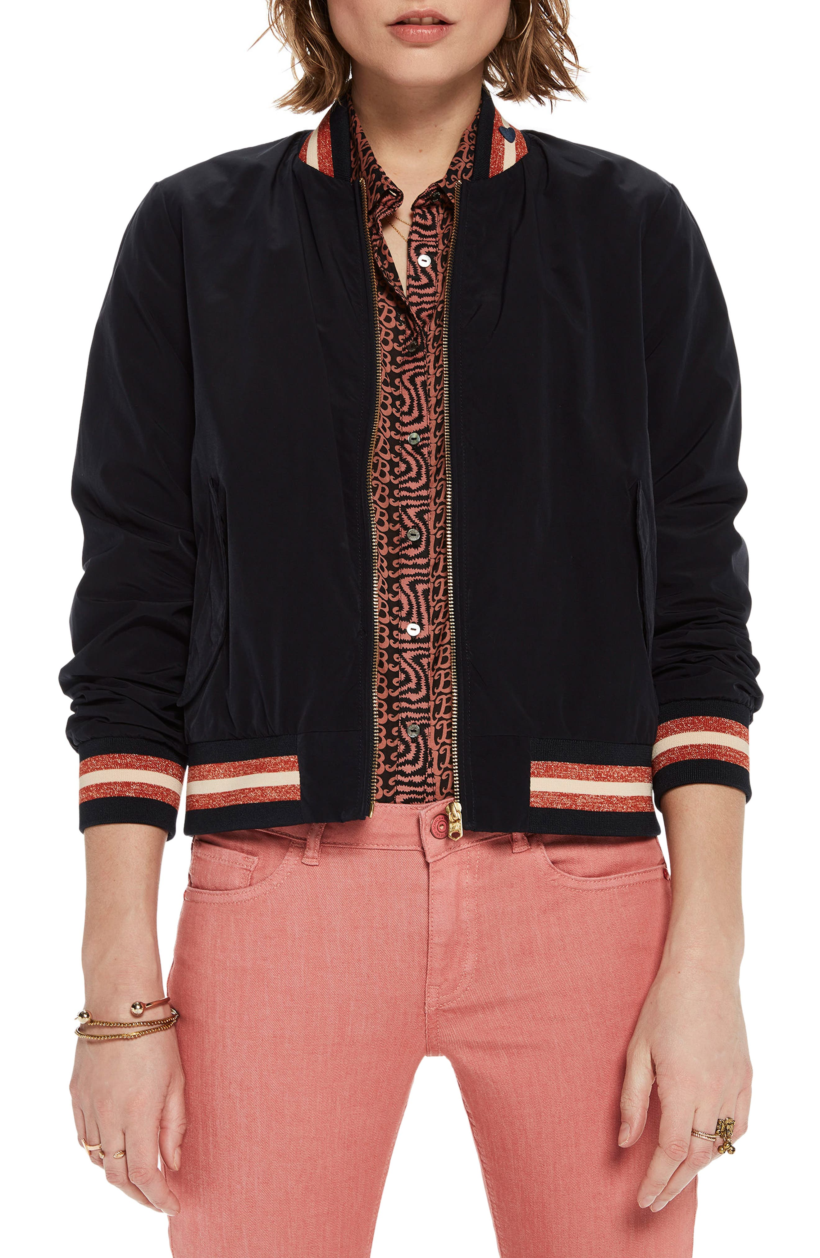 Stripe Trim Bomber Jacket,                             Main thumbnail 1, color,