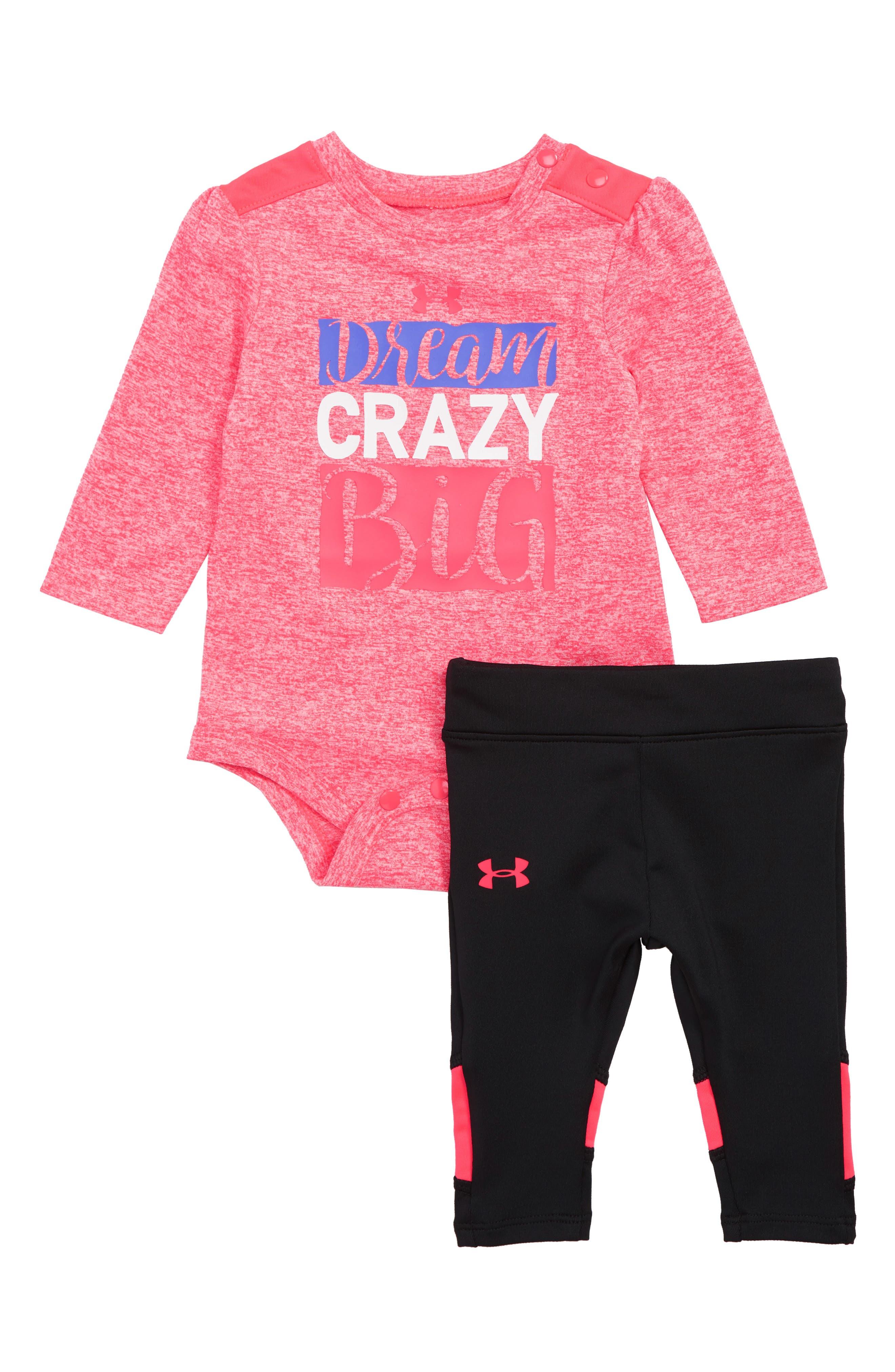 Infant Girls Under Armour Dream Crazy Big Bodysuit  Leggings Set